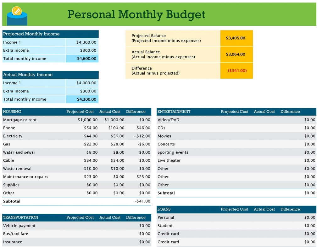 001 Unforgettable Monthly Budget Template Excel 2007 Photo  PersonalLarge