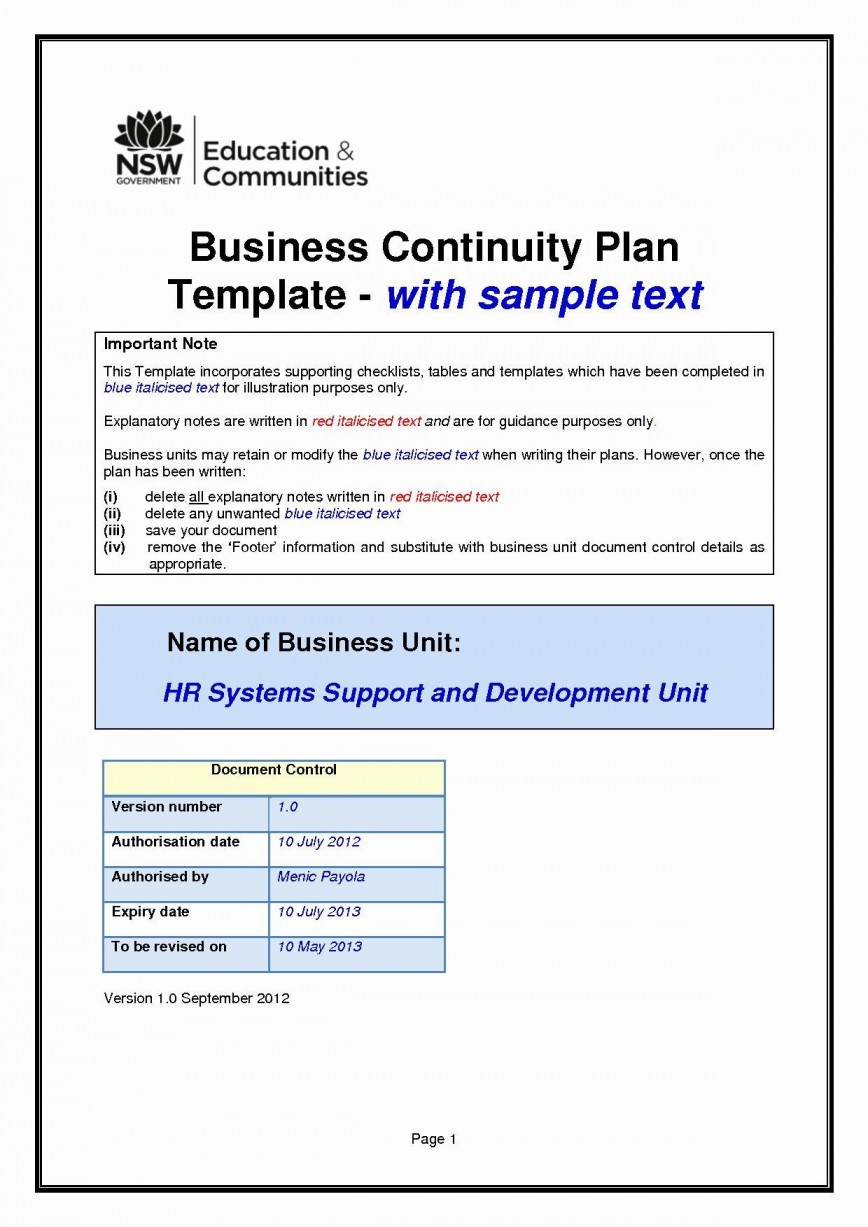001 Unforgettable Simple Busines Continuity Plan Template Photo  Example Small Sample