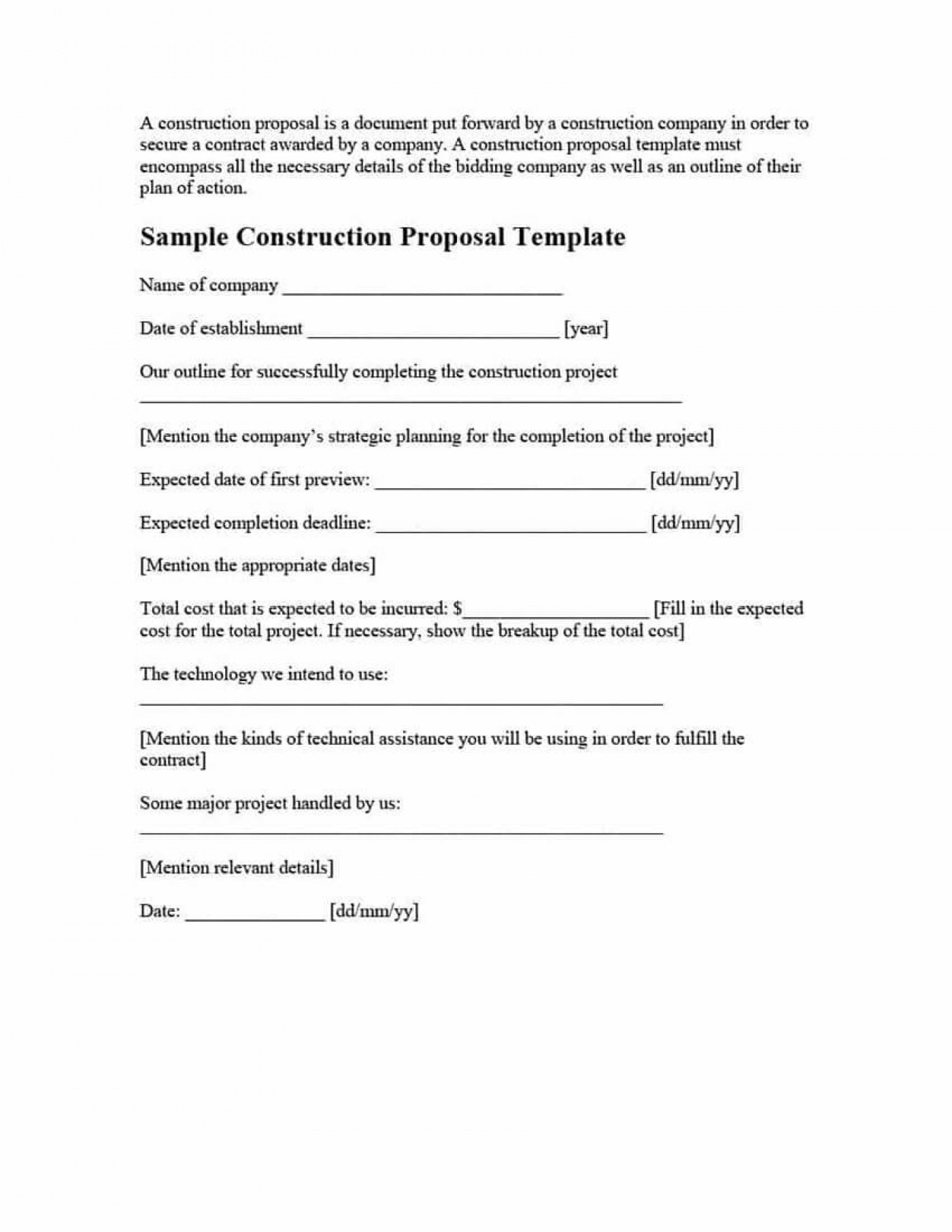 001 Unique Construction Job Proposal Template High Resolution  Example1400