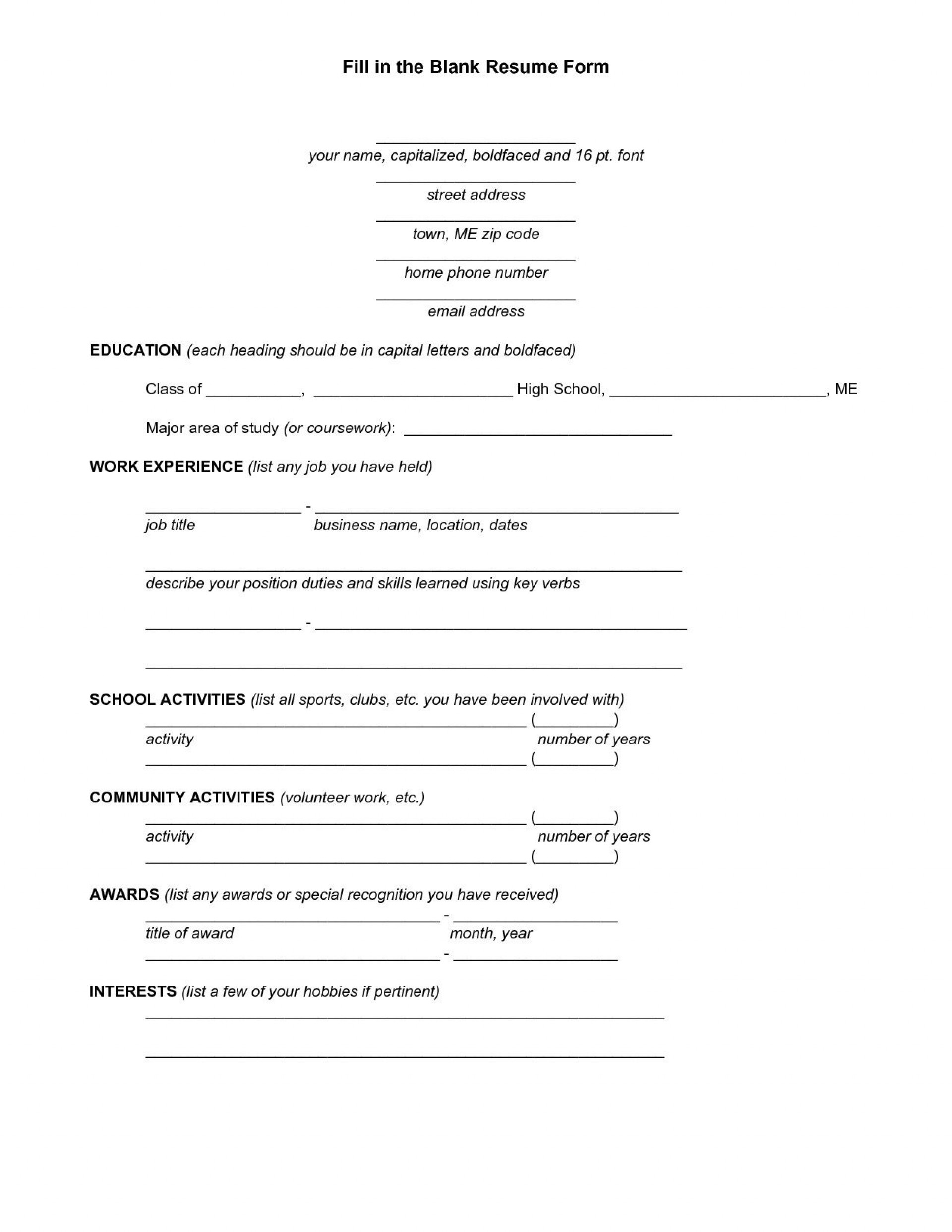 Fill In Resume Template Addictionary