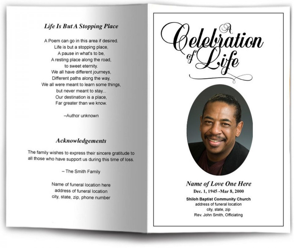 001 Unique Free Celebration Of Life Brochure Template High Definition  Flyer960