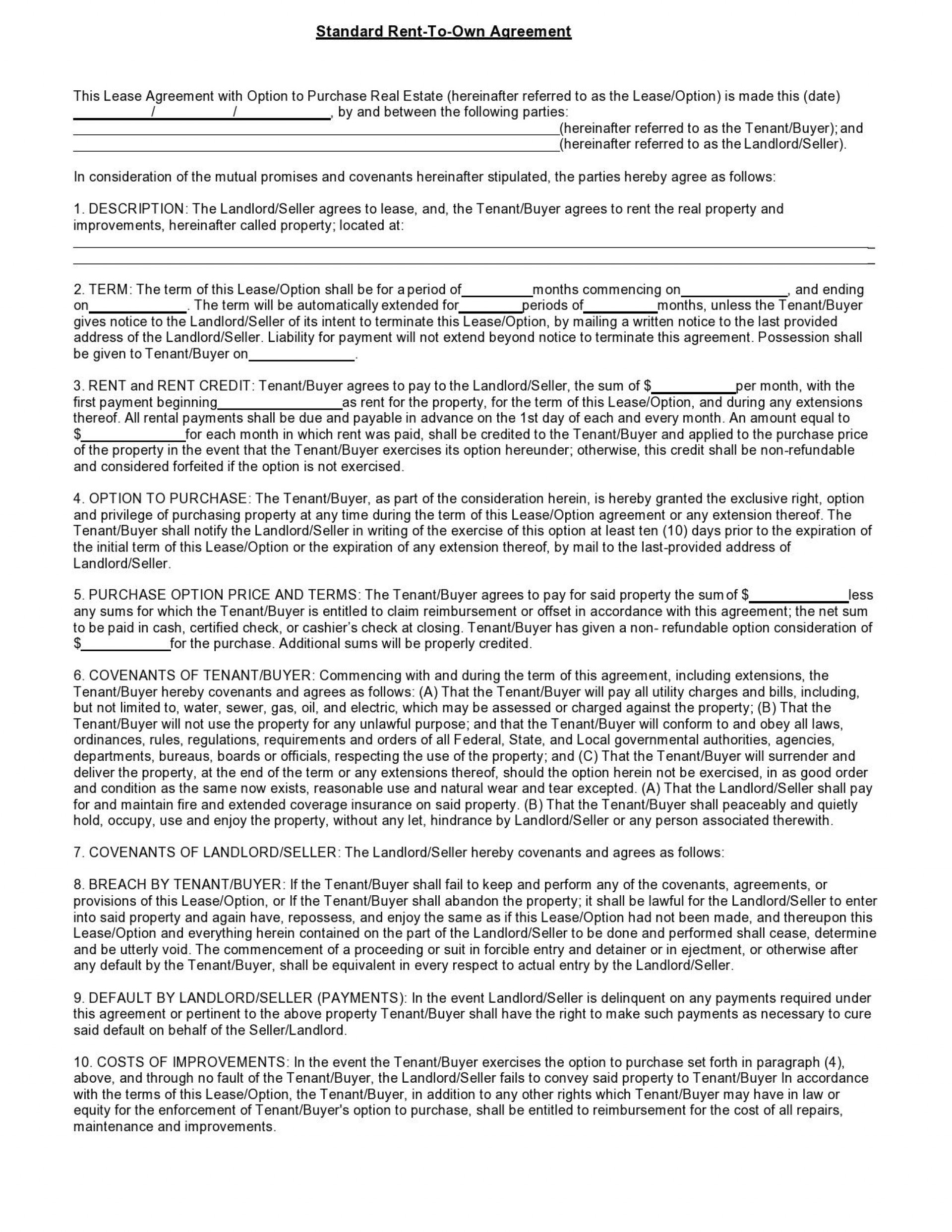 001 Unique Free Rent To Own Contract Form For House Example  Houses Pdf1920