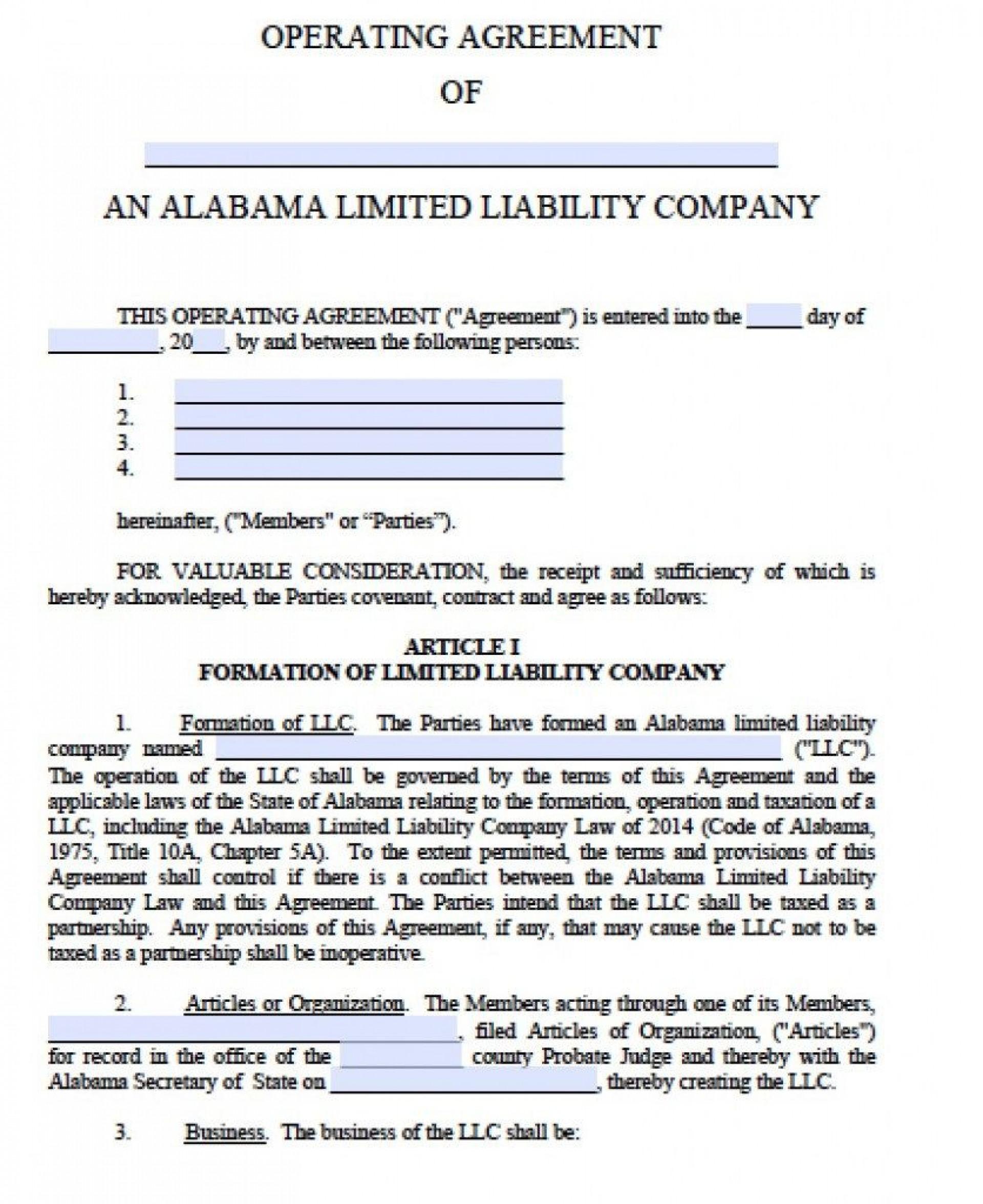 001 Unique Operation Agreement Llc Template Sample  Operating Florida Indiana Single Member California1920