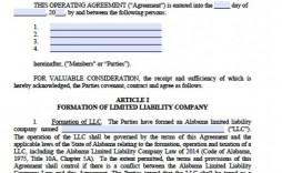 001 Unique Operation Agreement Llc Template Sample  Operating Pdf New York