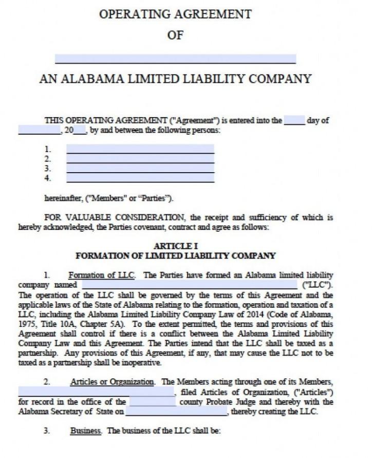 001 Unique Operation Agreement Llc Template Sample  Operating Florida Indiana Single Member California728