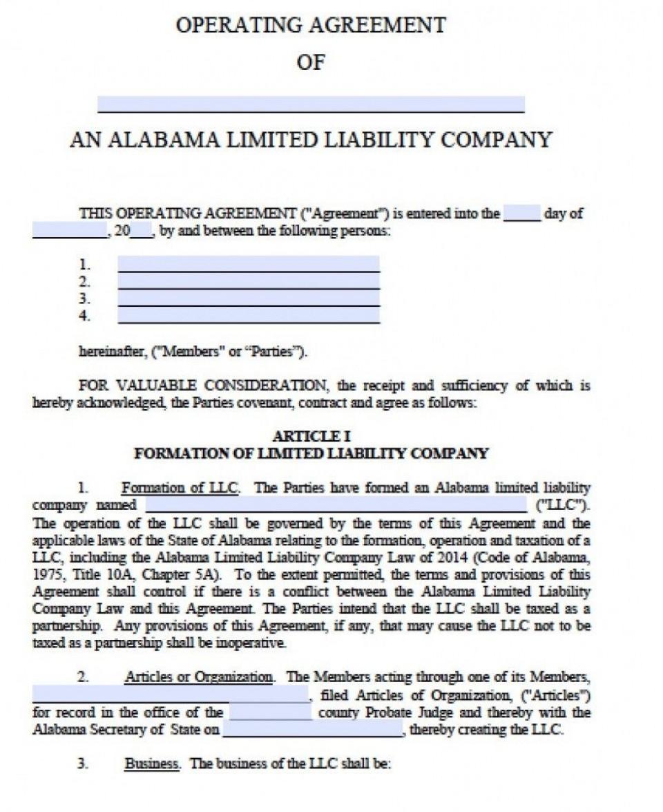 001 Unique Operation Agreement Llc Template Sample  Operating Florida Indiana Single Member California960