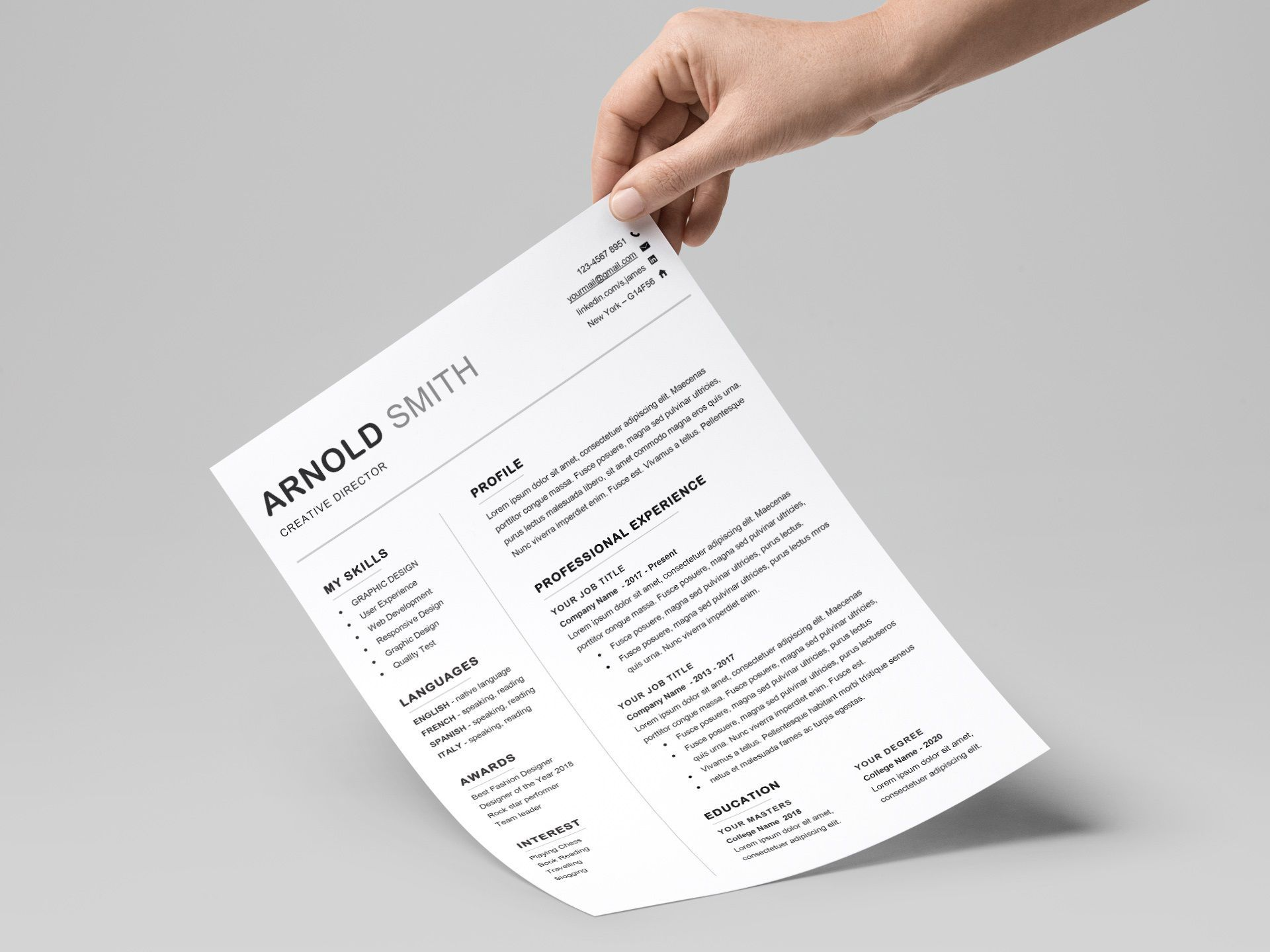 001 Unique Professional Resume Template 2018 Free Download High Def Full