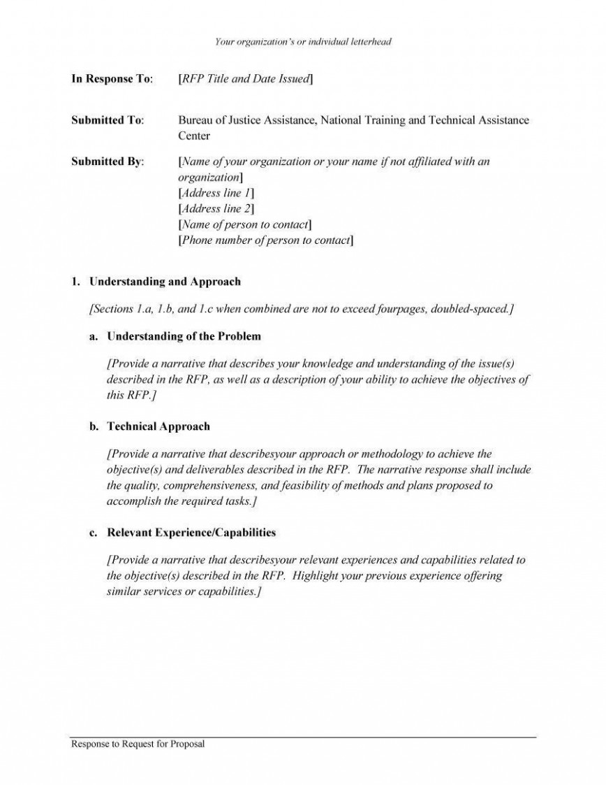 001 Unique Request For Proposal Response Template Free Picture