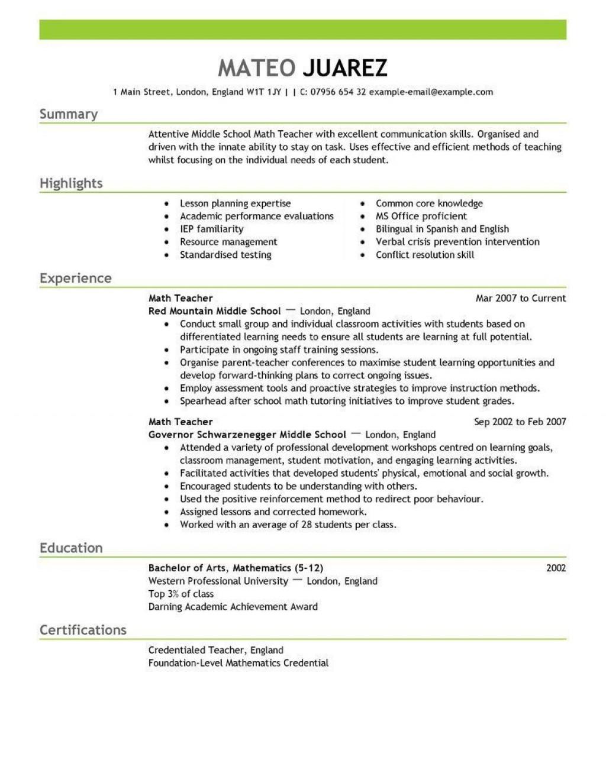 001 Unique Resume Example For Teacher Job Photo  Sample Cv SchoolLarge