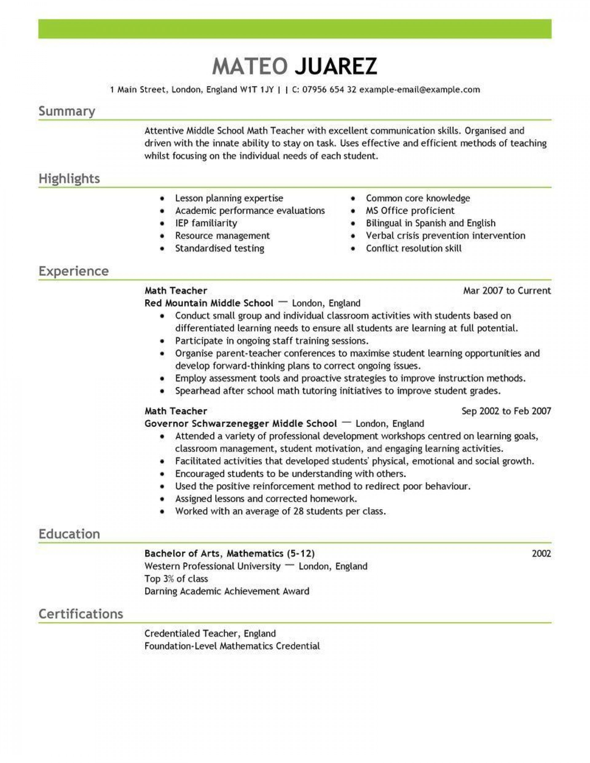 001 Unique Resume Example For Teacher Job Photo  Sample Cv School1920