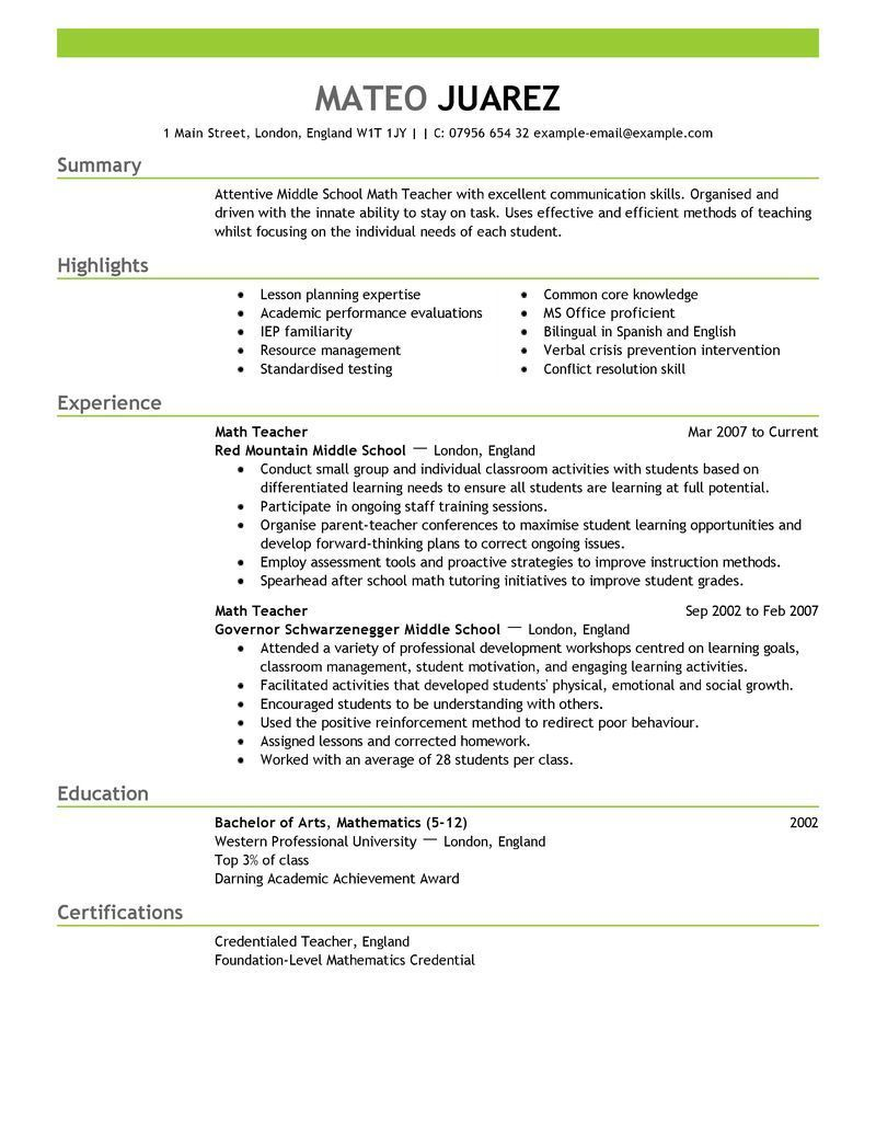 001 Unique Resume Example For Teacher Job Photo  Sample Cv SchoolFull