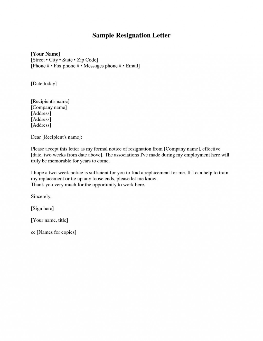 001 Unique Two Week Notice Letter Template Picture  Free Professional 2Large