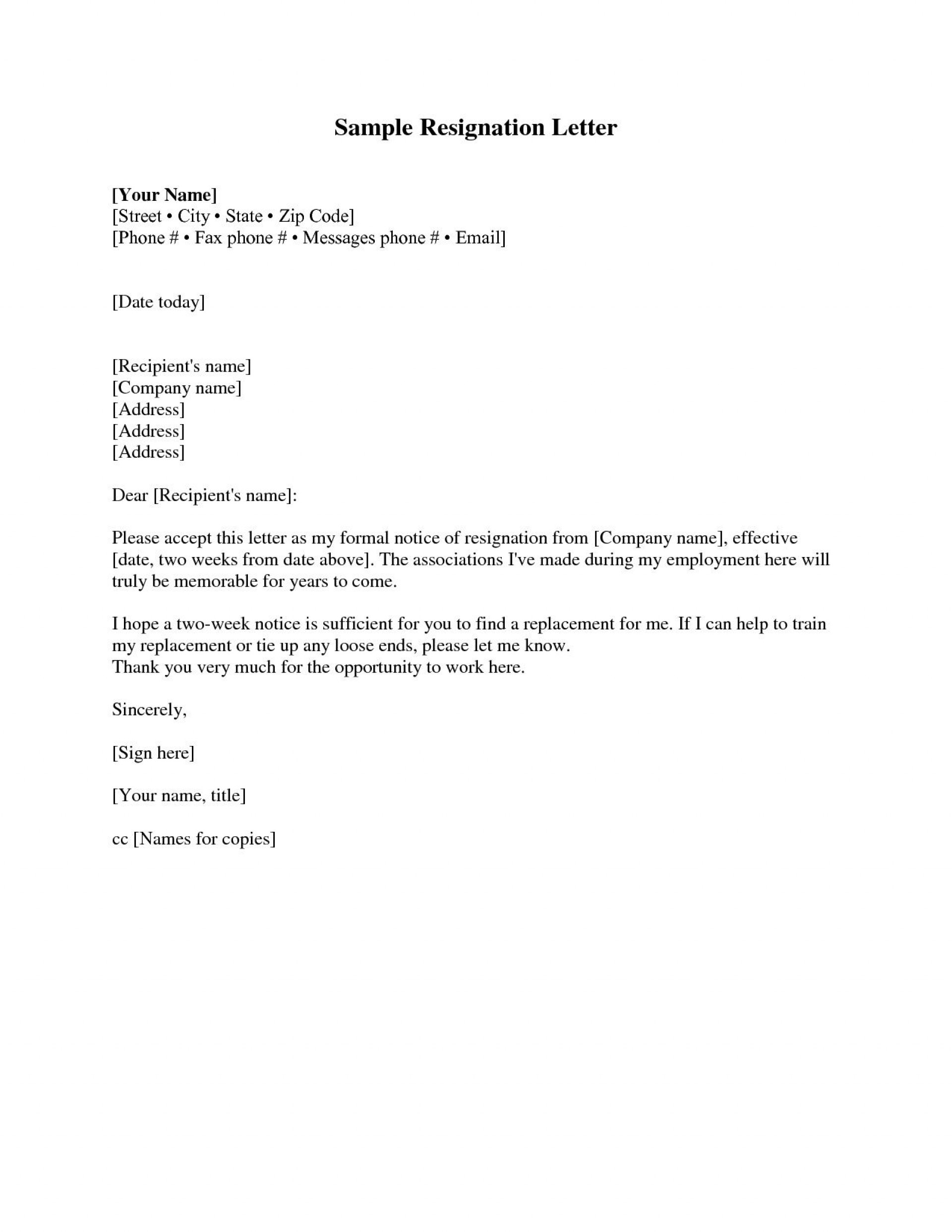 001 Unique Two Week Notice Letter Template Picture  Free Professional 21920