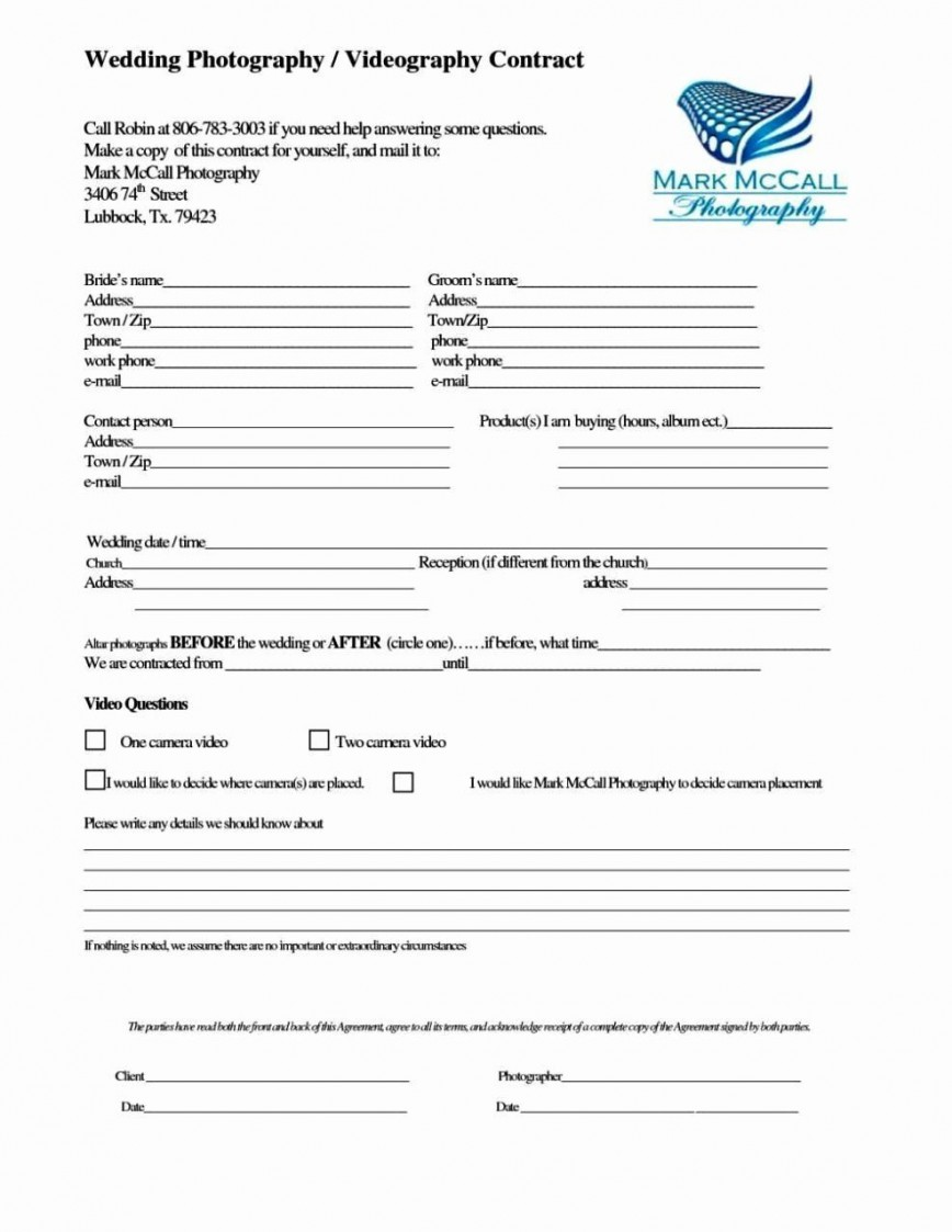 001 Unique Wedding Videographer Contract Template Example  Videography Pdf