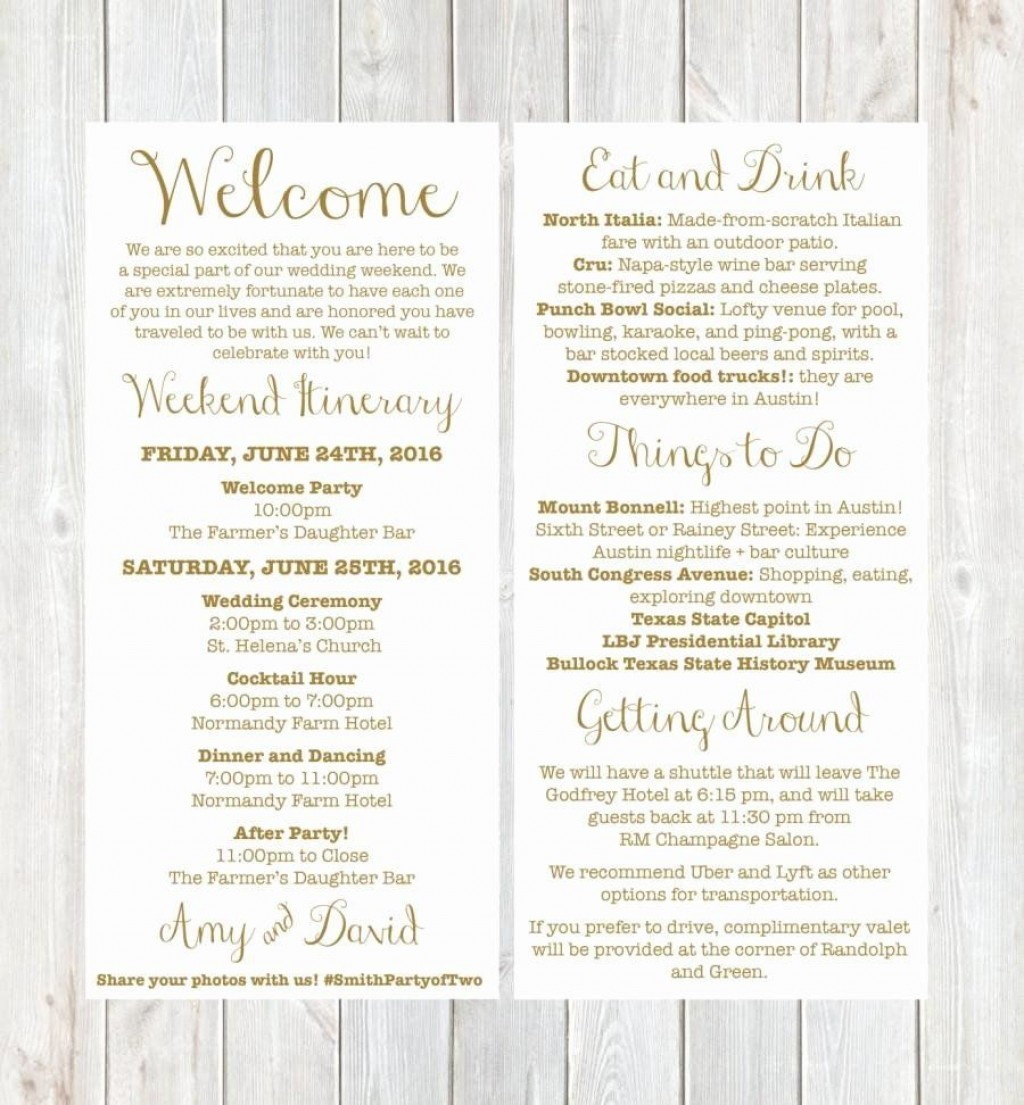 001 Unique Wedding Welcome Letter Template Free Sample  BagLarge