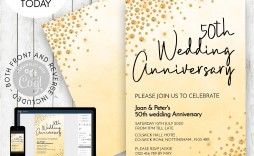 001 Unusual 50th Wedding Anniversary Invitation Template Free Highest Quality  Download Golden Microsoft Word