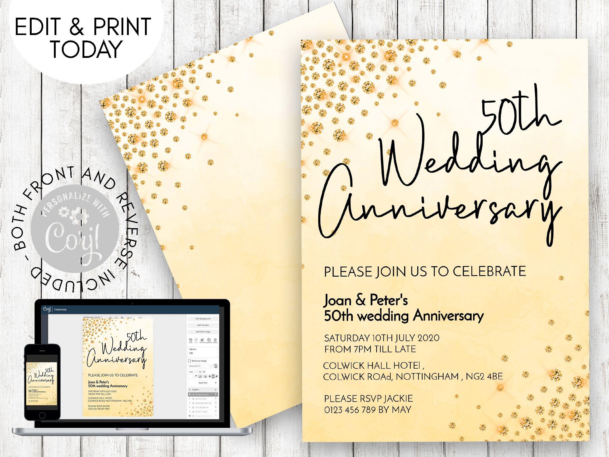001 Unusual 50th Wedding Anniversary Invitation Template Free Highest Quality  Download Golden Microsoft WordFull