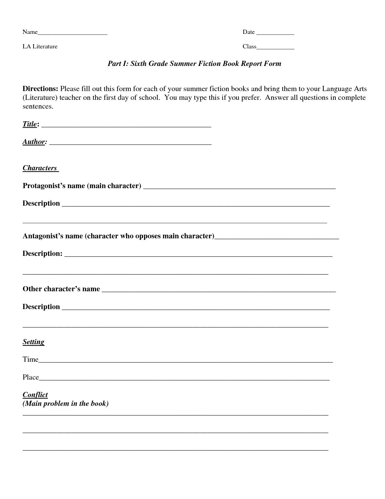 001 Unusual 6th Grade Book Report Template Concept  Sixth Format Printable Middle SchoolFull