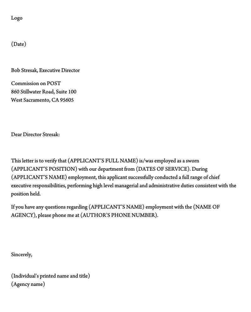 001 Unusual Employment Verification Letter Template Word Image  South AfricaFull