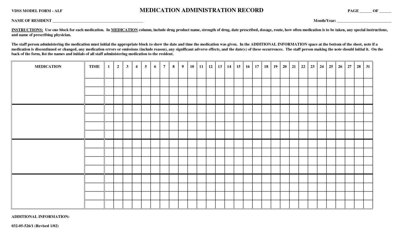 001 Unusual Medication Administration Record Template Pdf Inspiration  Free Simple1400