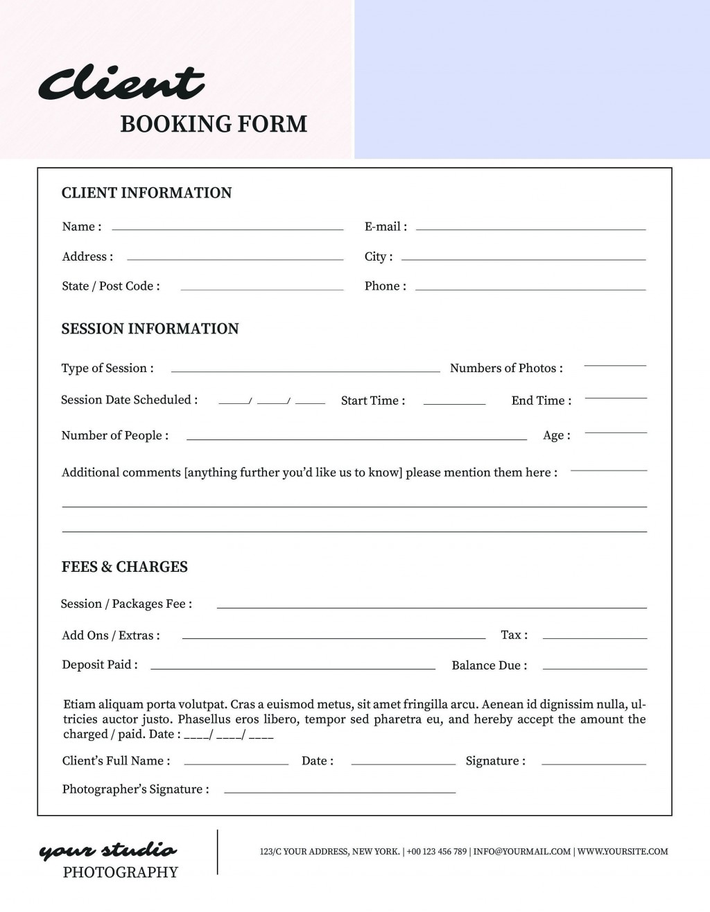 001 Unusual New Busines Client Information Form Template Highest Clarity Large