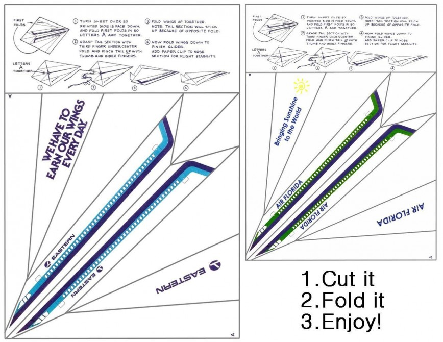 001 Unusual Printable Paper Airplane Instruction Image  Simple Free Folding868