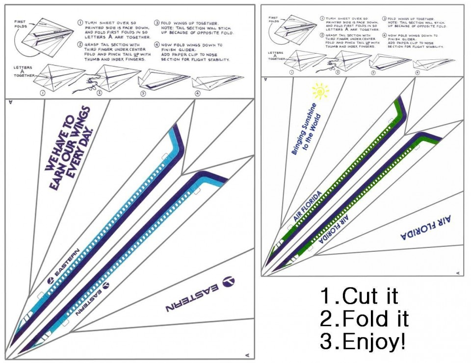 001 Unusual Printable Paper Airplane Instruction Image  Simple Free Folding960