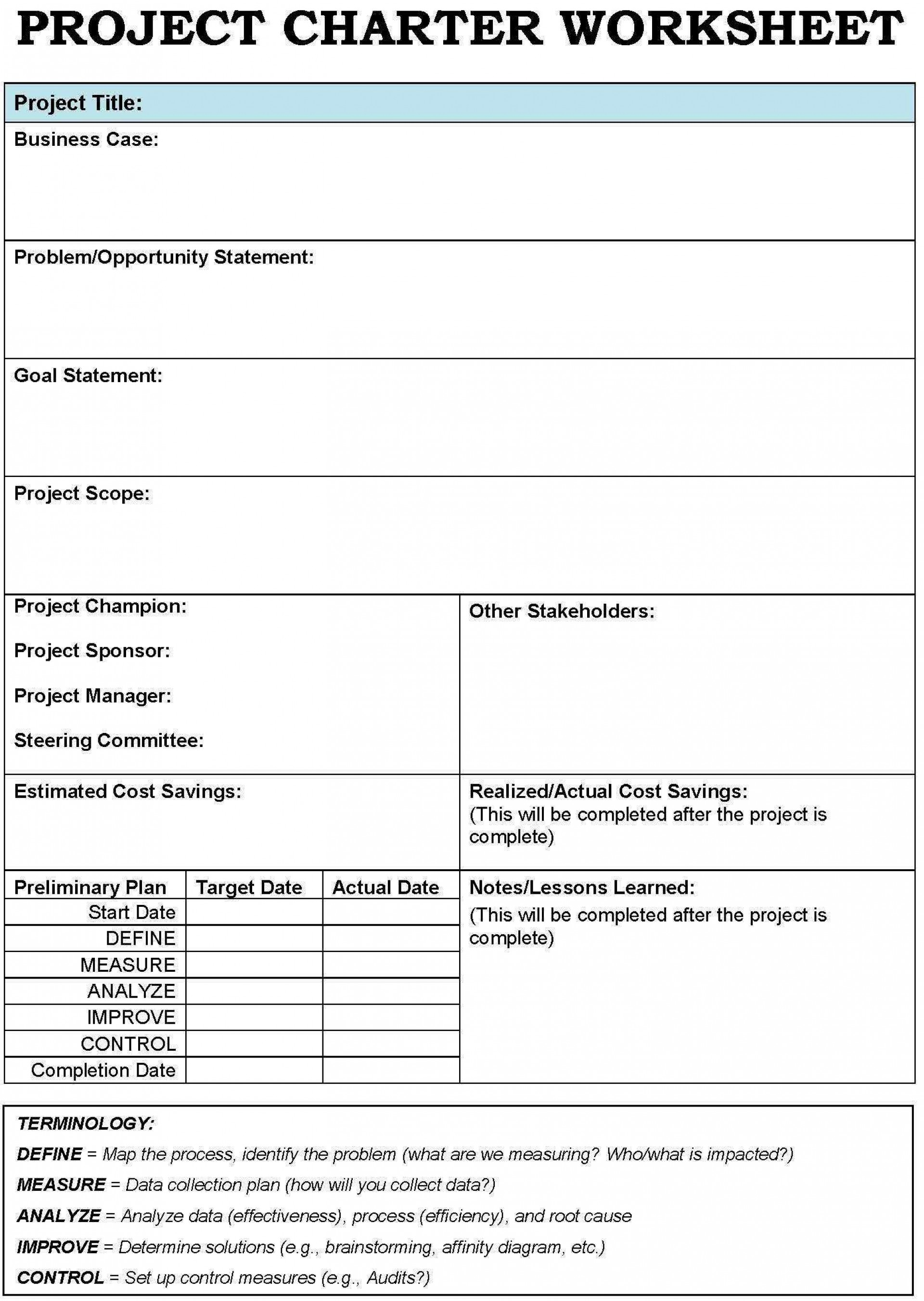 001 Unusual Project Charter Template Excel Inspiration  Lean Pmbok Nederland1920