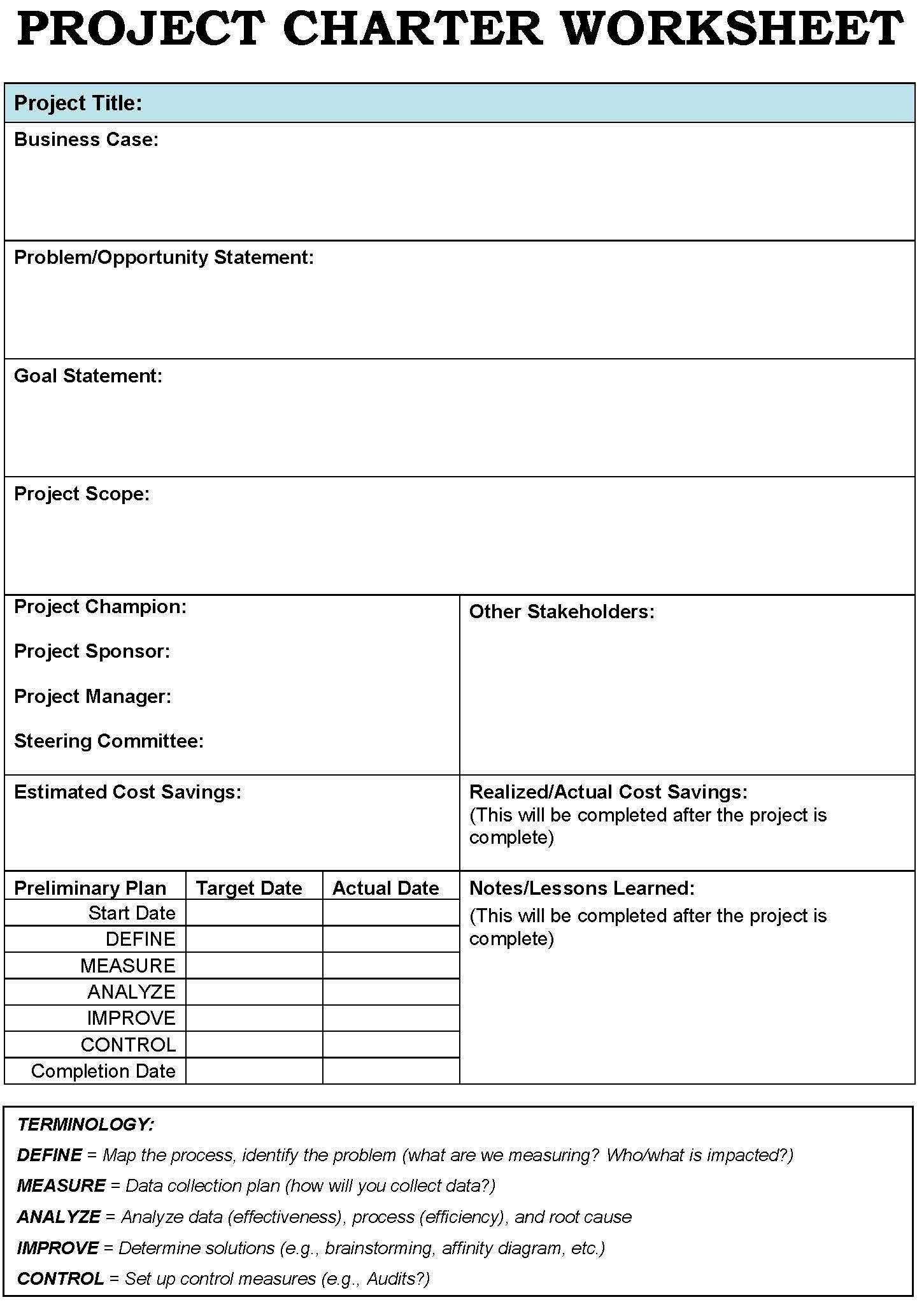 001 Unusual Project Charter Template Excel Inspiration  Lean Pmbok NederlandFull