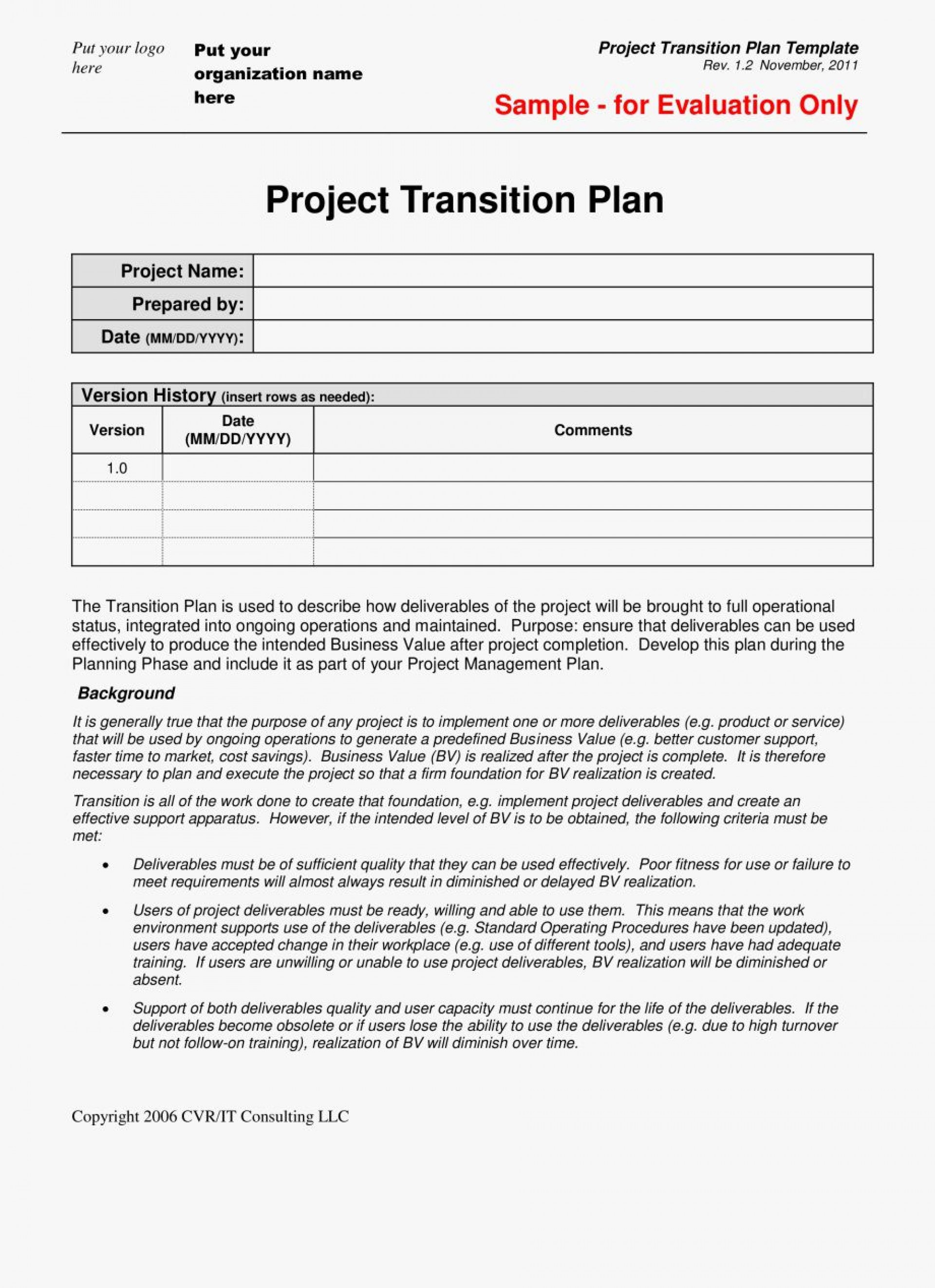 001 Unusual Project Transition Plan Template Highest Clarity  Excel Download Software Sample1920