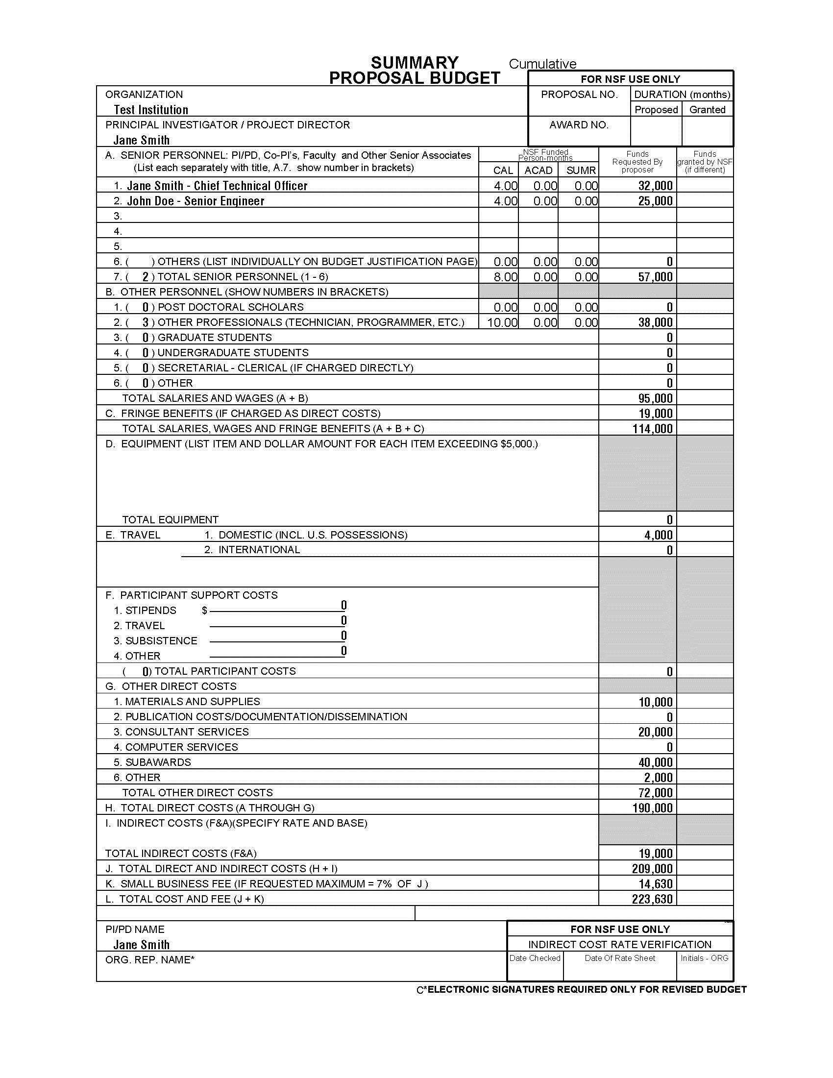 001 Unusual Sample Line Item Budget Format Full