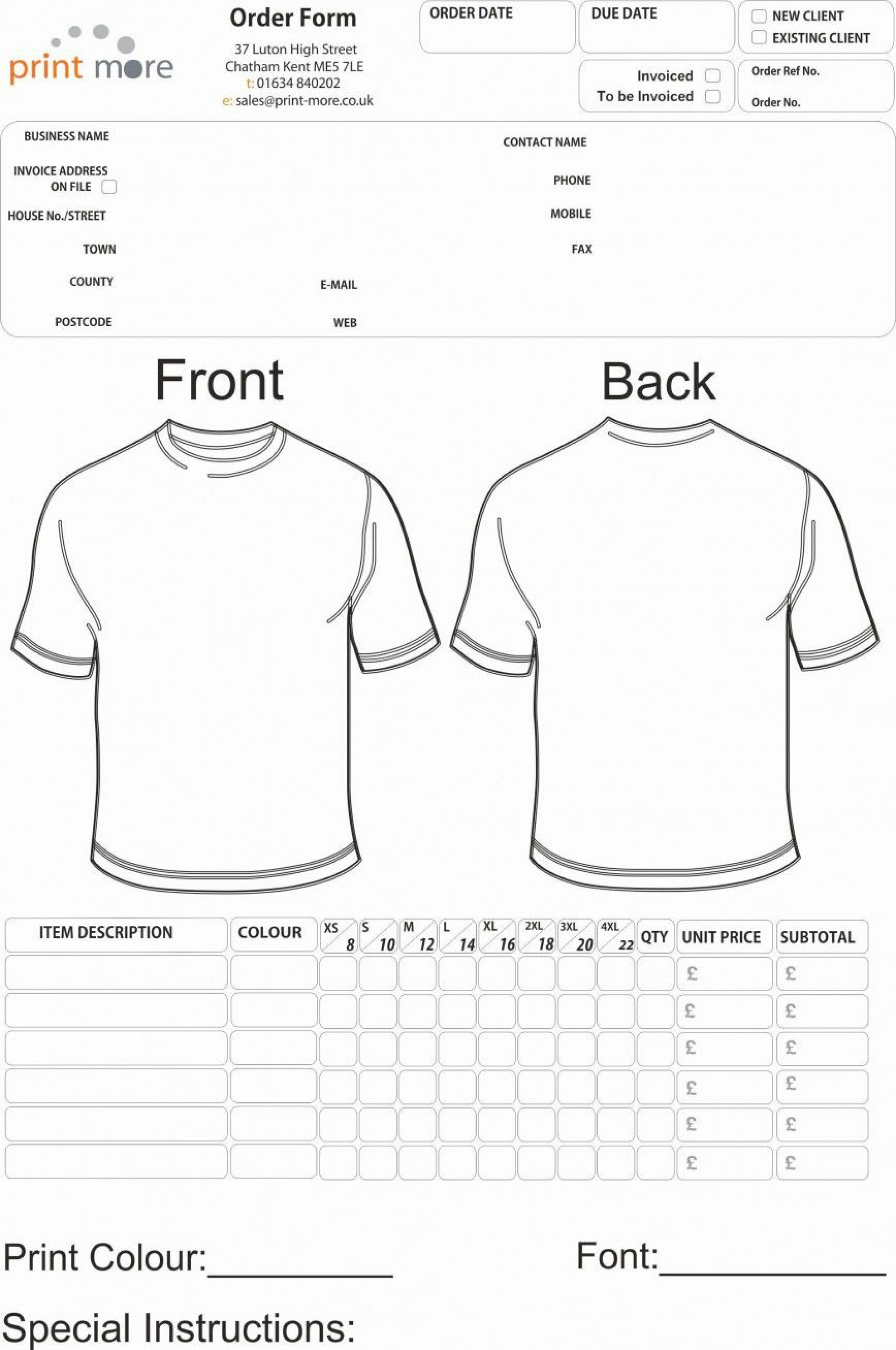 001 Unusual Shirt Order Form Template Sample  Templates T Microsoft Word Excel Download Tee1920