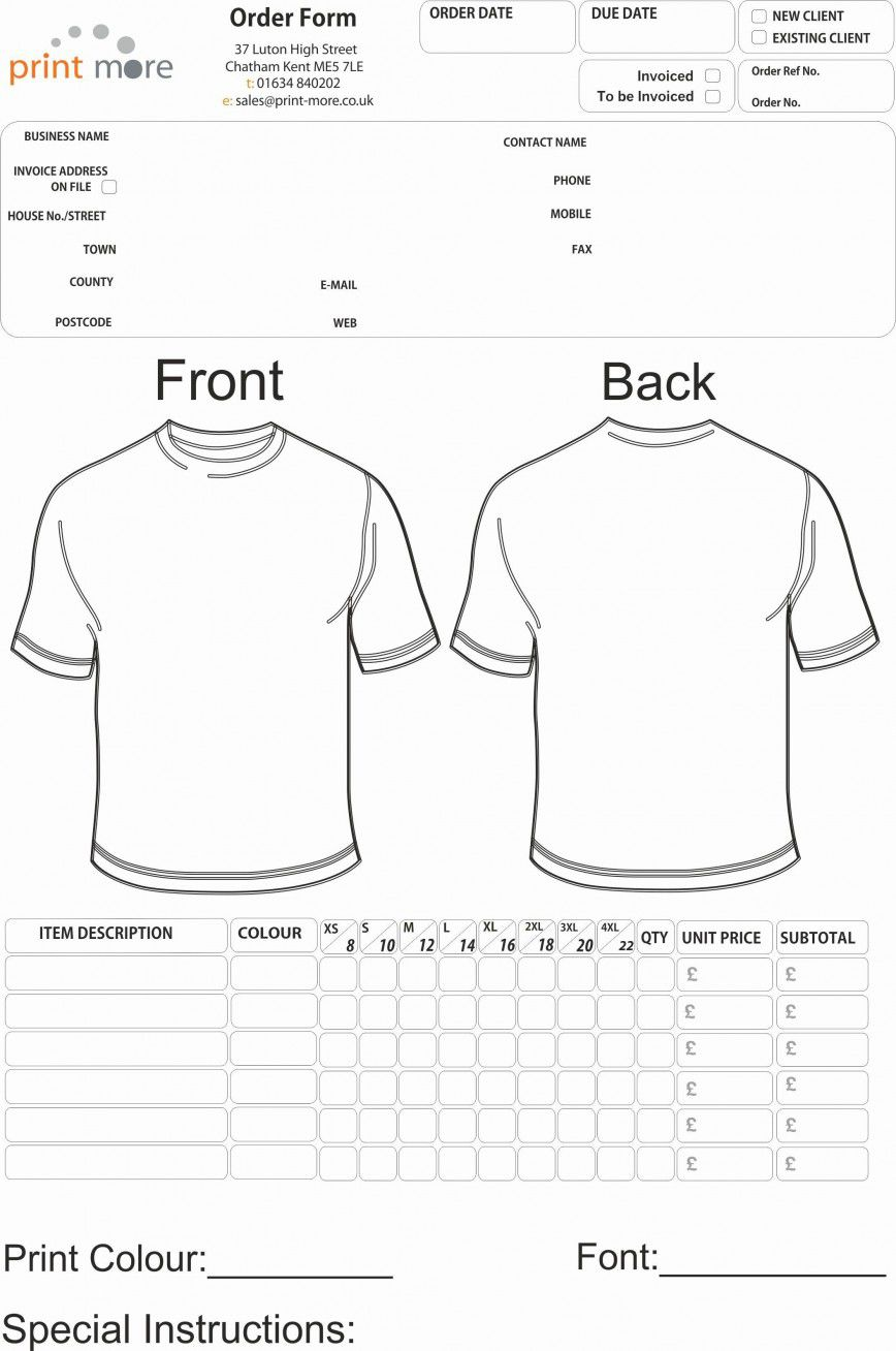 001 Unusual Shirt Order Form Template Sample  Templates T Microsoft Word Excel Download TeeFull
