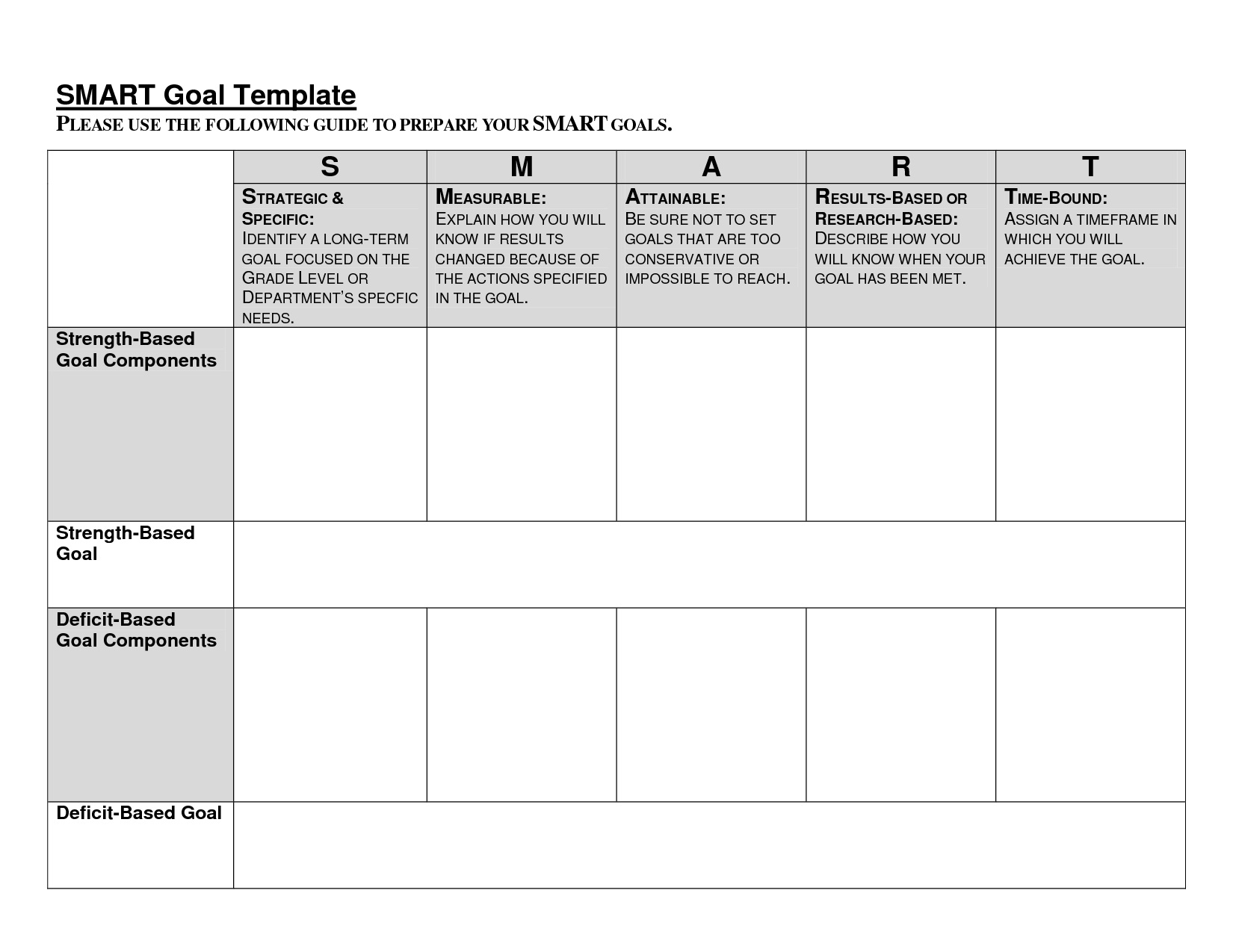 001 Unusual Smart Goal Template Excel Concept  Free Setting WorksheetFull