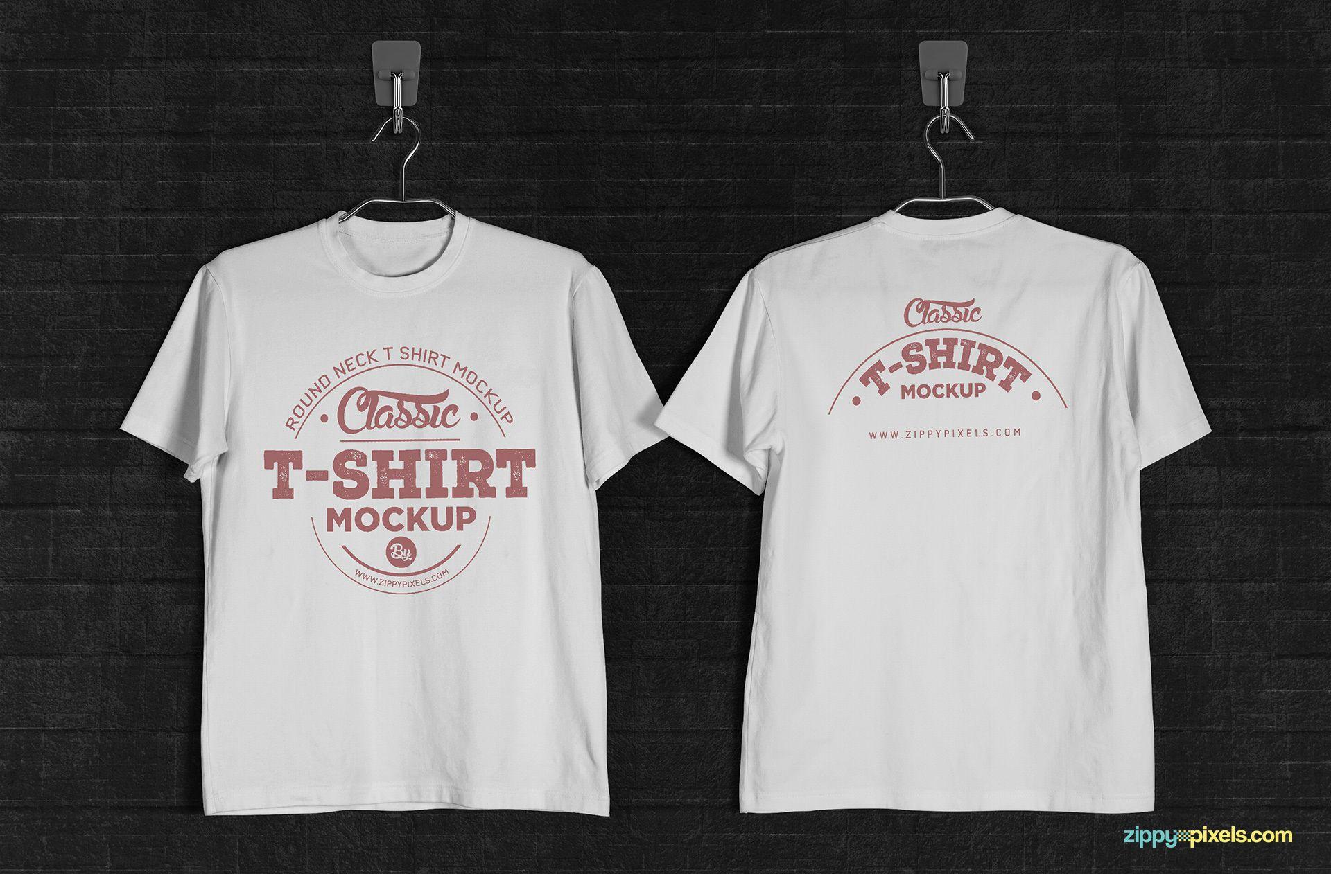 001 Unusual T Shirt Template Psd Idea  Design Mockup Free White CollarFull