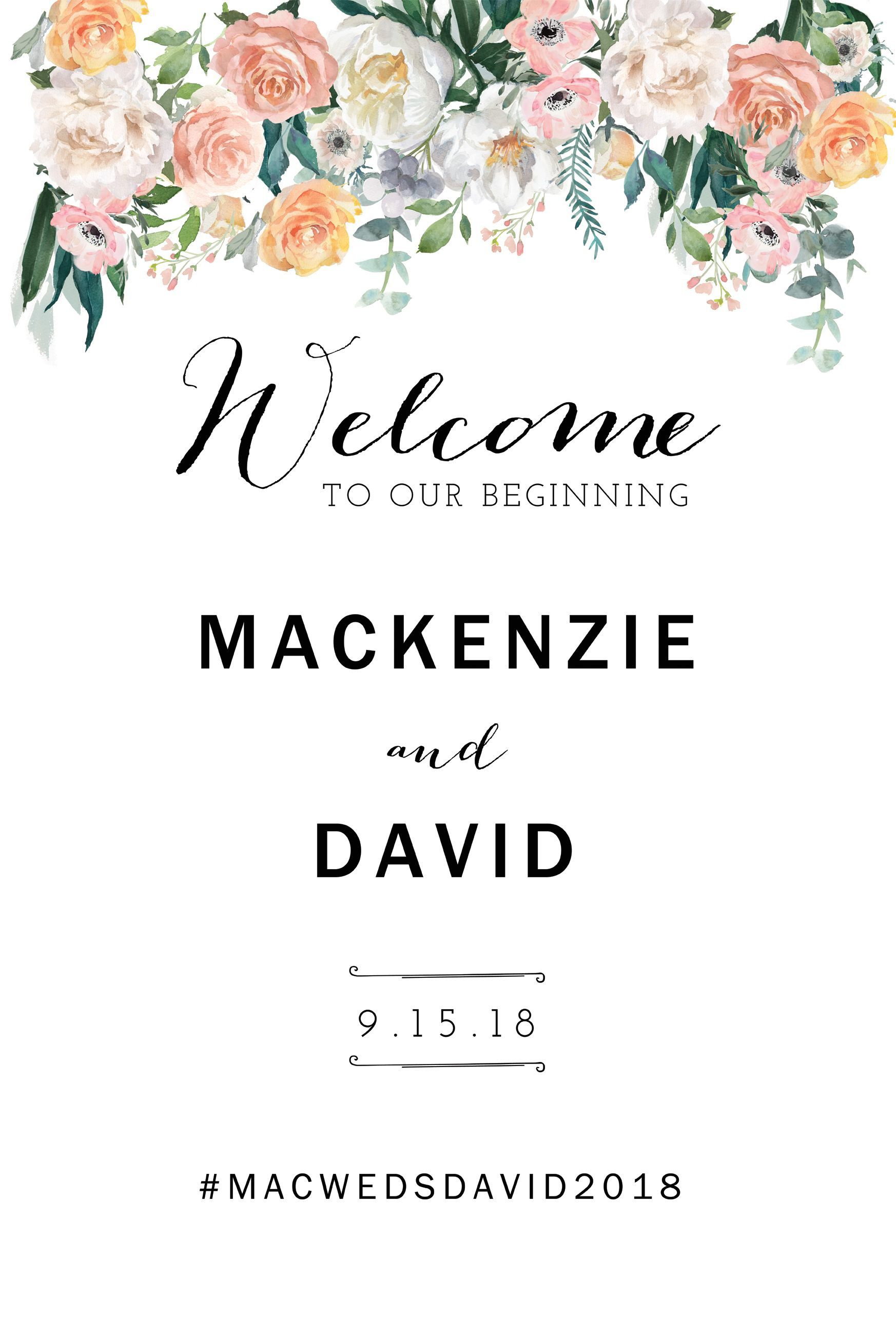 001 Unusual Wedding Welcome Sign Printable Template Design  FreeFull