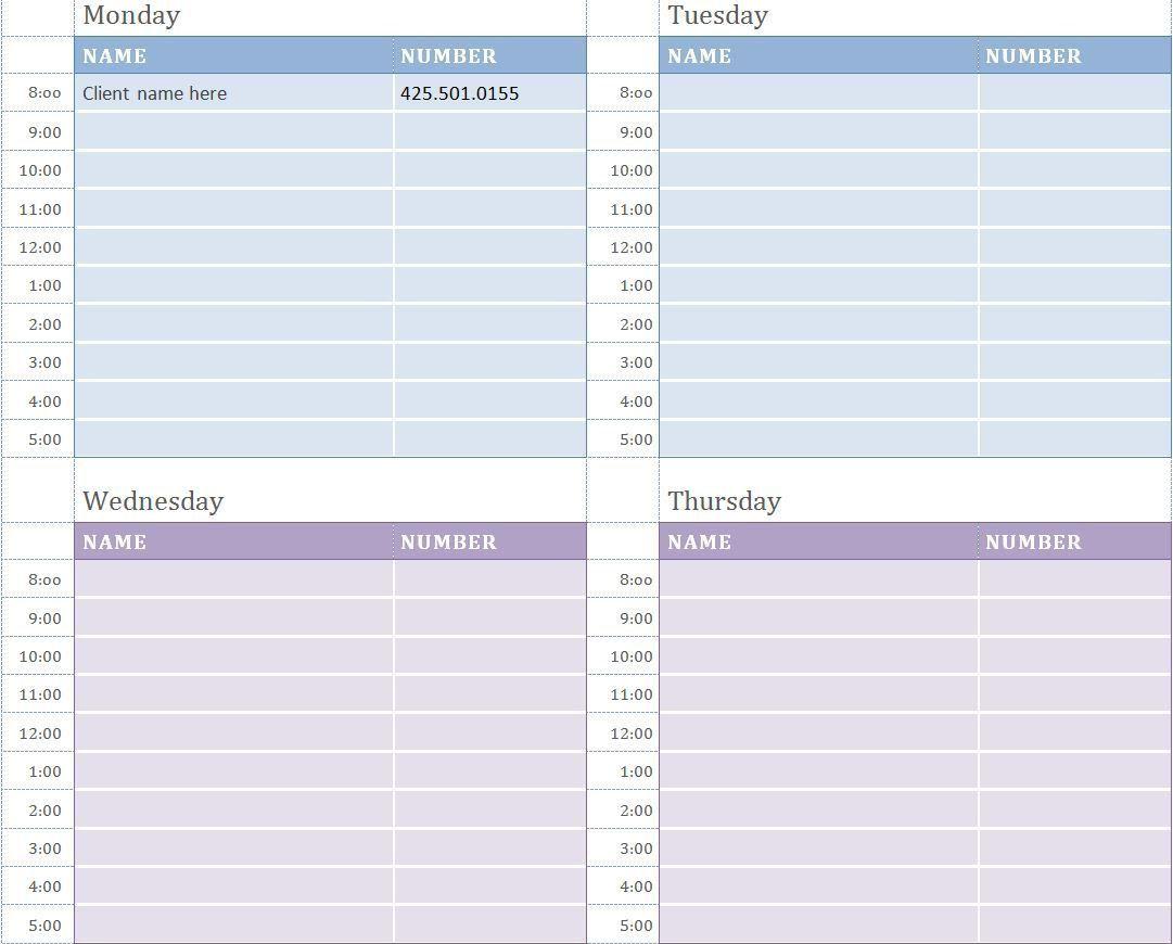001 Unusual Weekly Appointment Calendar Template High Def  Free WordFull