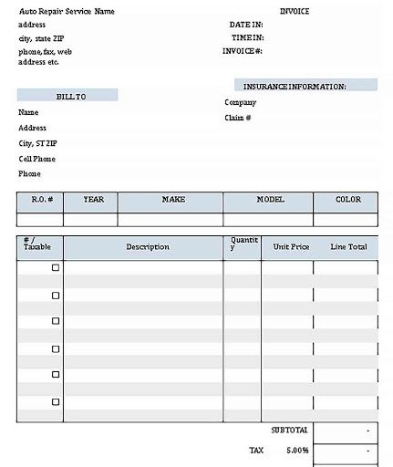 001 Wonderful Auto Repair Order Template Highest Clarity  Work Free Automotive CarFull