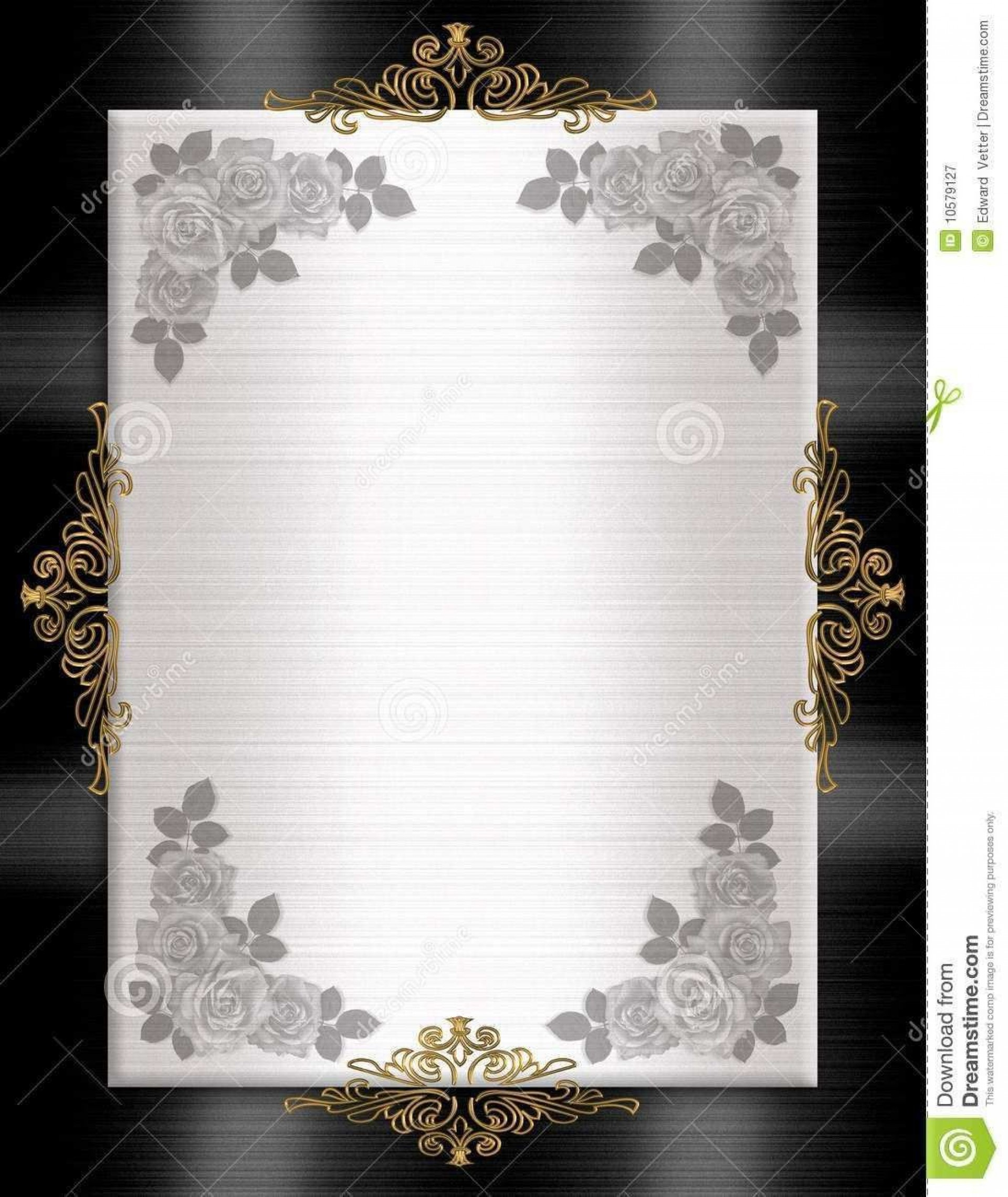 001 Wonderful Black And Gold Invitation Template Sample  Design White Free Printable1920