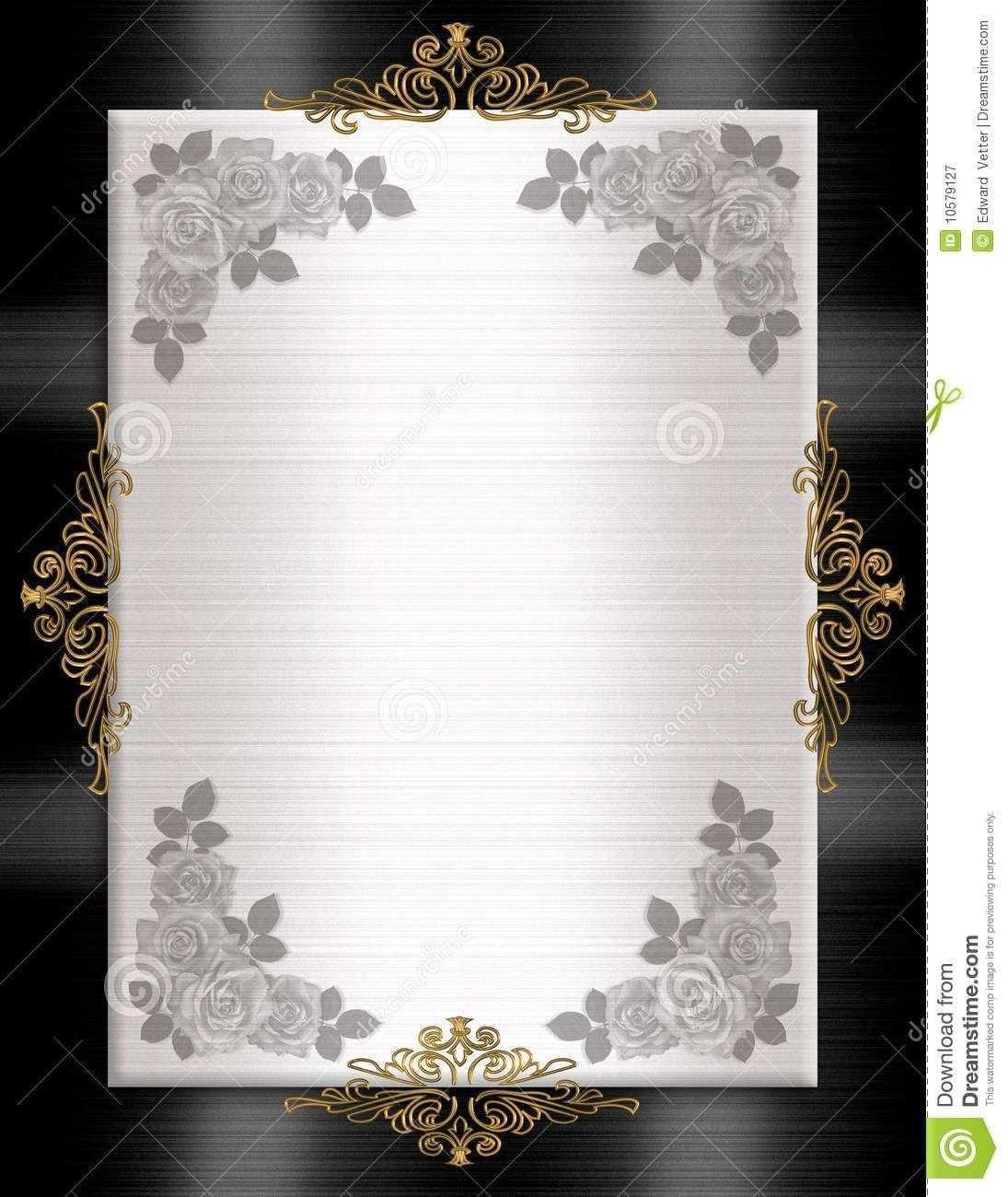 001 Wonderful Black And Gold Invitation Template Sample  Design White Free PrintableFull