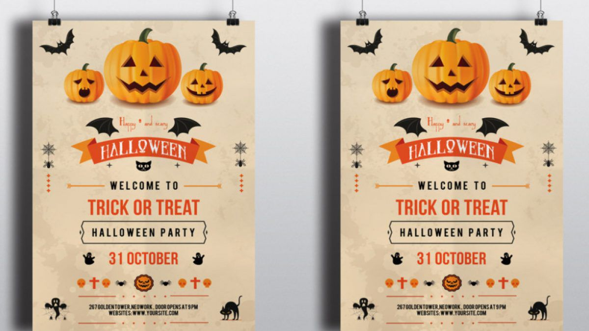 001 Wonderful Free Halloween Party Flyer Template Example  TemplatesFull
