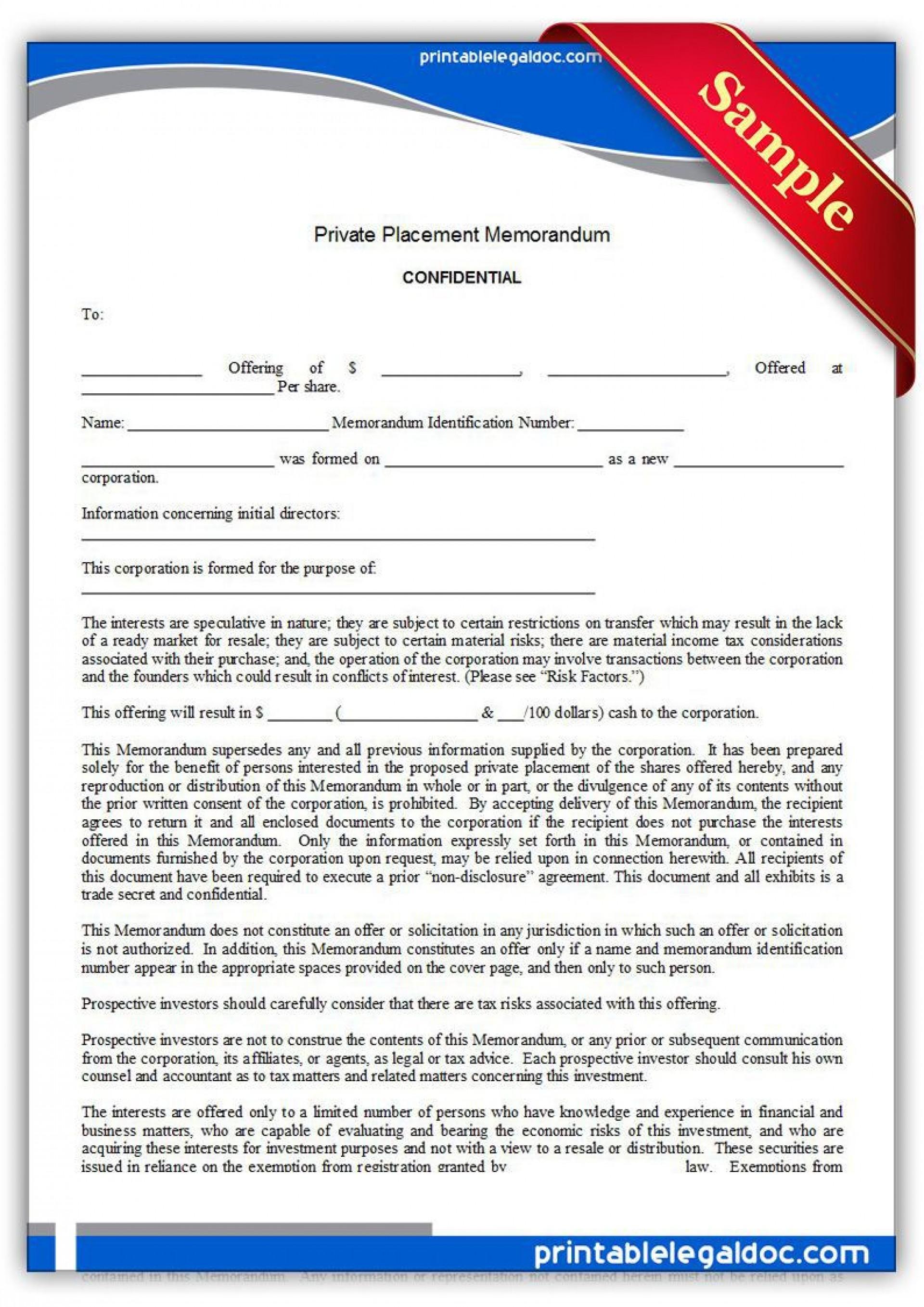 001 Wonderful Free Private Placement Memorandum Template Sample 1920