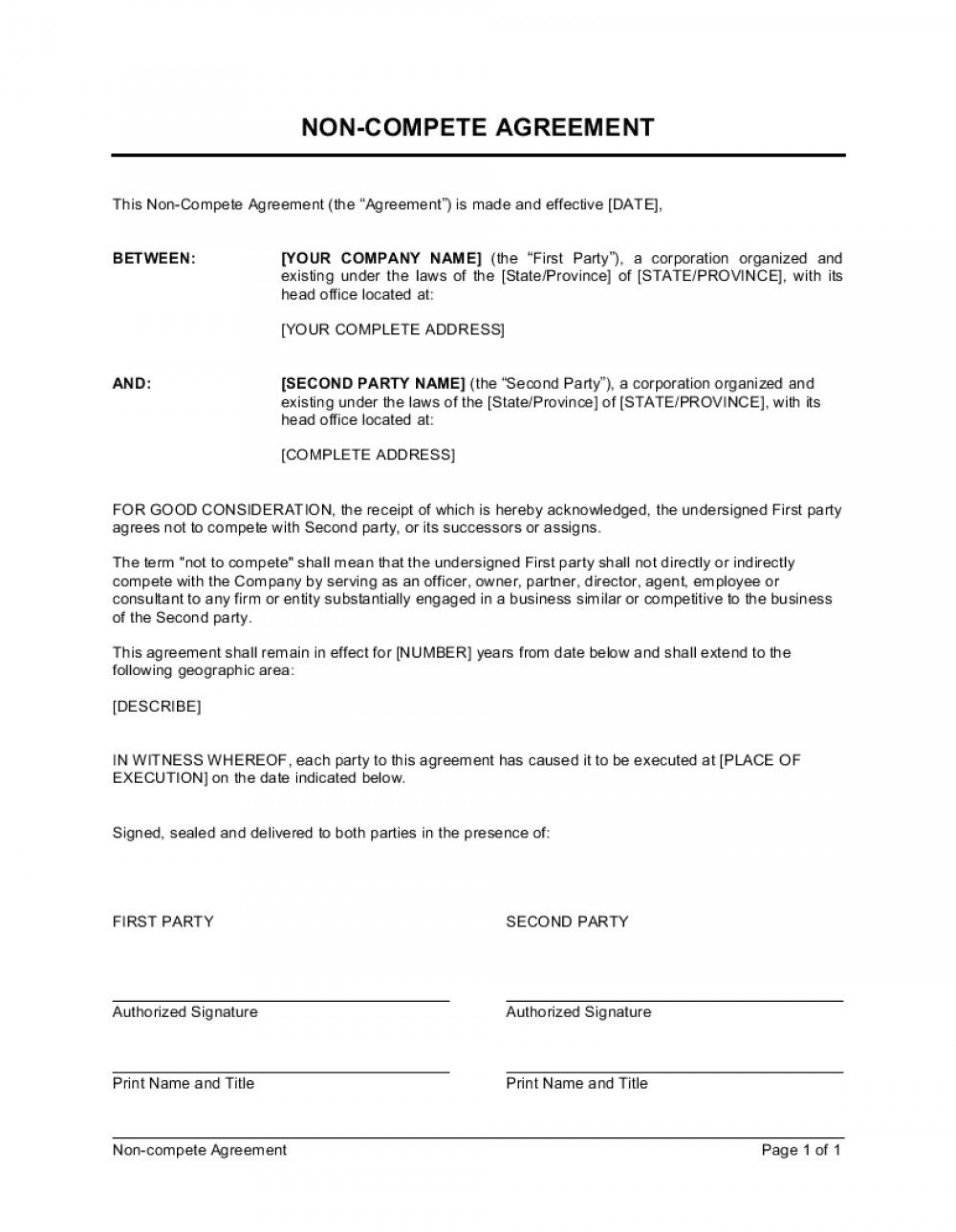 001 Wonderful Non Compete Agreement Template Idea  Sample India Free Florida1920