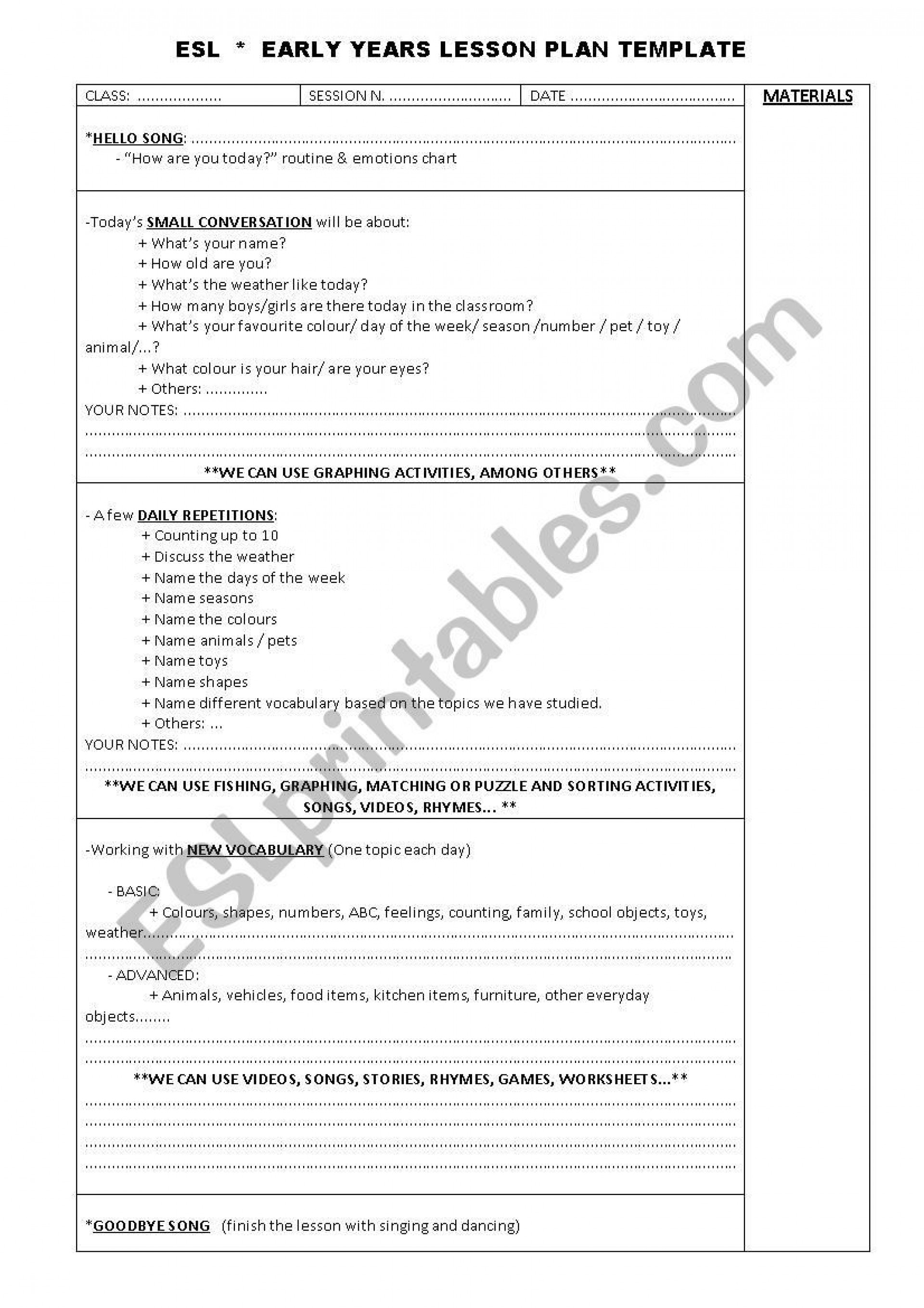 001 Wonderful One Day Lesson Plan Template Inspiration  Example Format1920