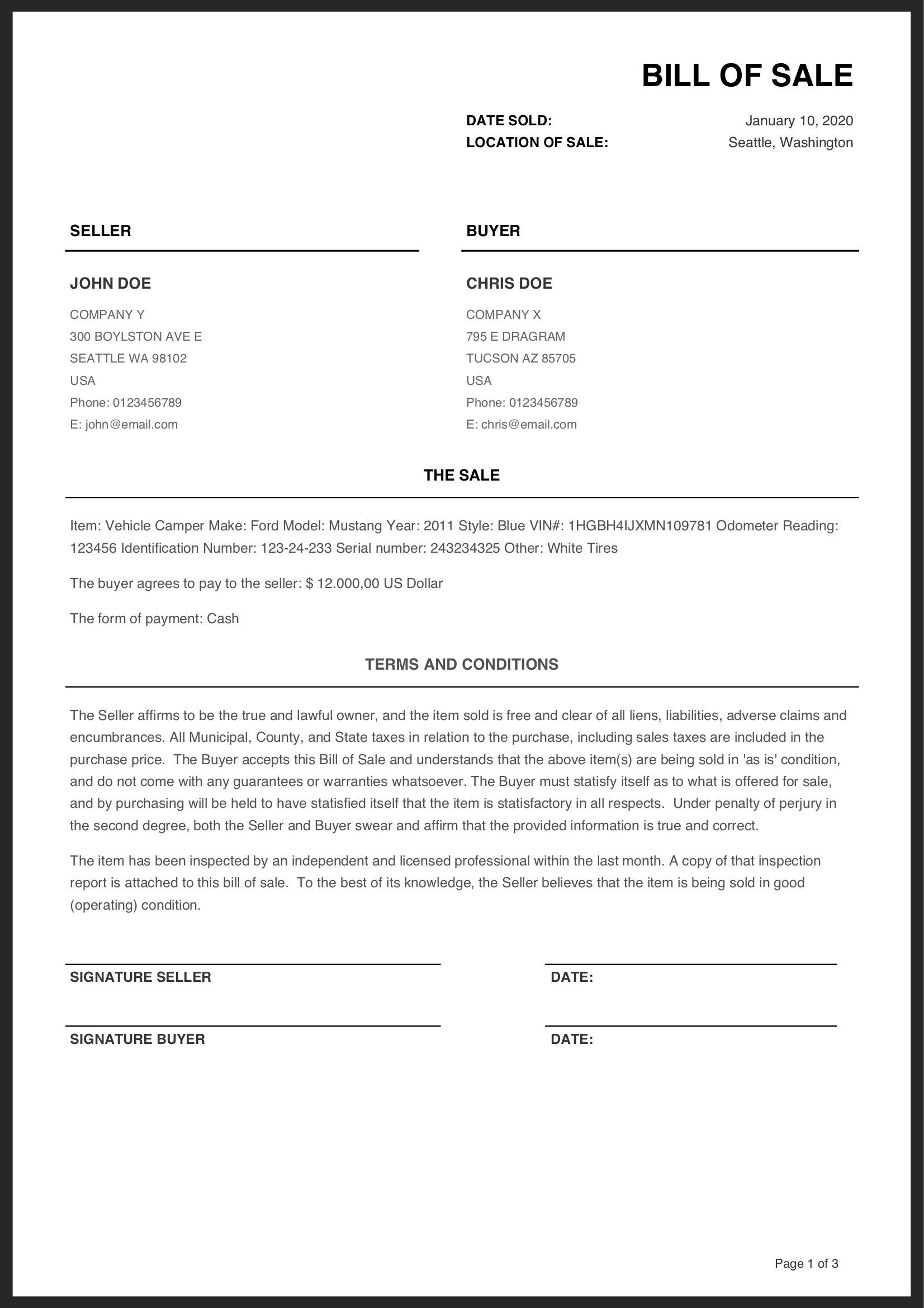 001 Wonderful Printable Bill Of Sale Template Highest Quality  Word Saskatchewan Free Used Car OntarioFull