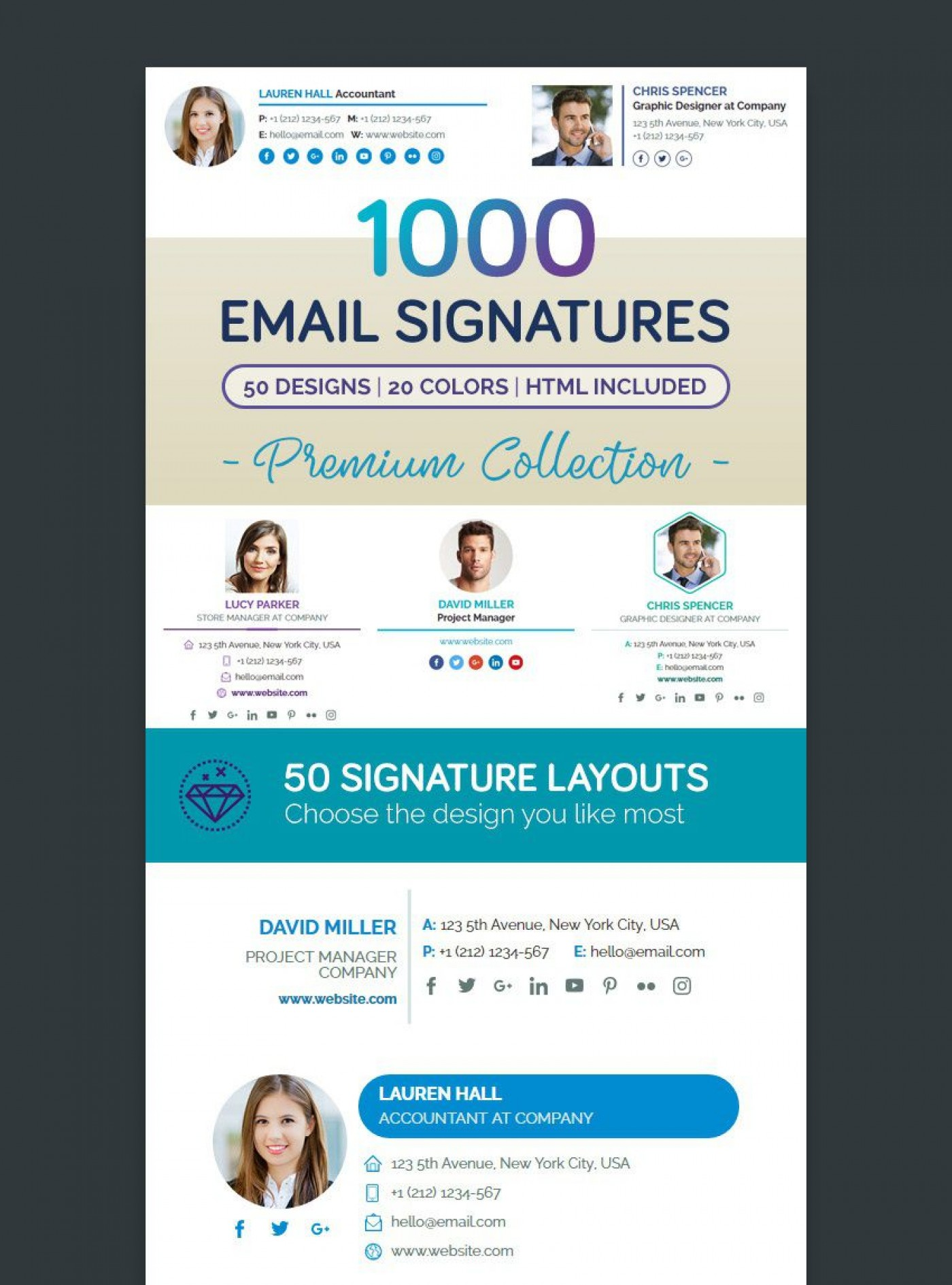 001 Wonderful Professional Email Signature Template Example  Free Html Download1400