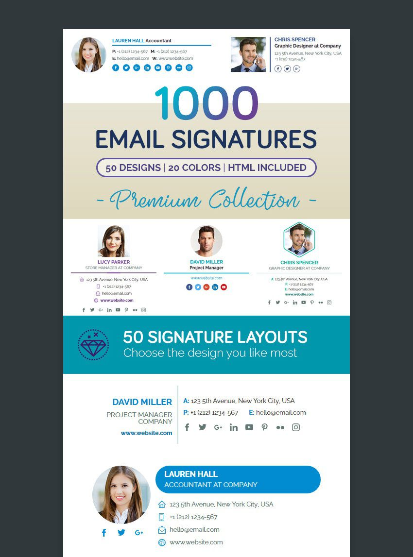 001 Wonderful Professional Email Signature Template Example  Download Free HtmlFull