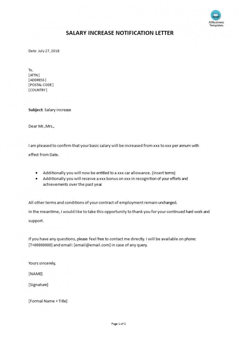 001 Wonderful Salary Increase Letter Template High Resolution  From Employer To Employee Australia No For960