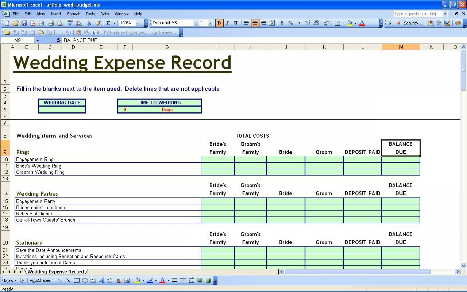 001 Wonderful Wedding Budget Template Excel High Definition  South Africa Sample Spreadsheet1920