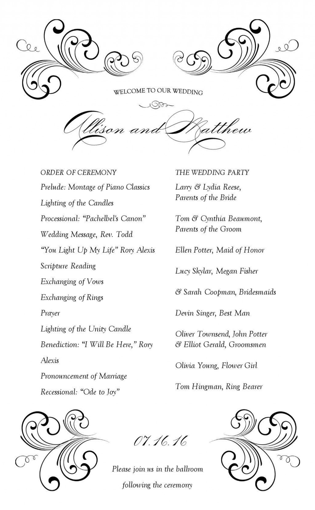 001 Wonderful Wedding Reception Program Template Concept  Templates Layout Free Download Ceremony AndLarge
